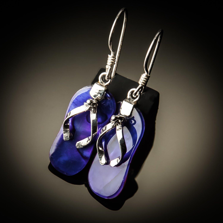 Purple Abalone Sterling Silver Earrings