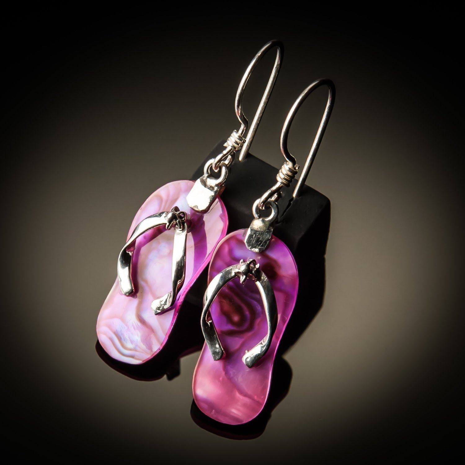 Pink Abalone Sterling Silver Earrings