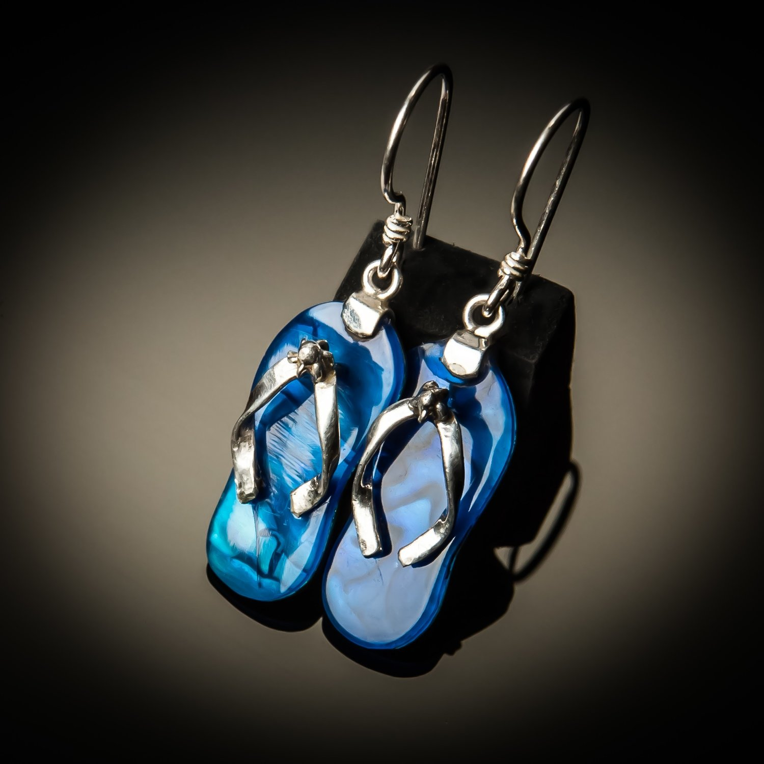 Blue Abalone Sterling Silver Flip-Flop Earrings