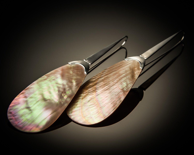 Brown Shell Sterling Silver Earrings