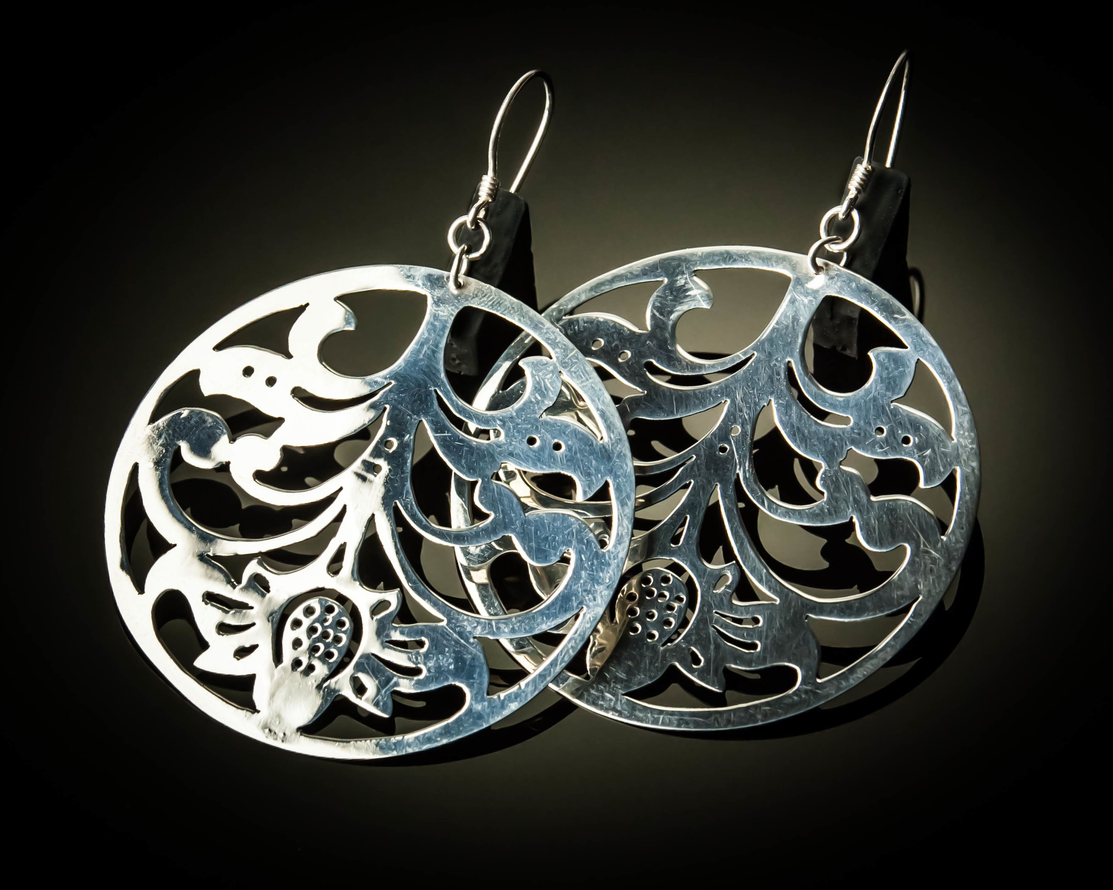Large Round Sterling Silver Cutout Earrings ER-09069L