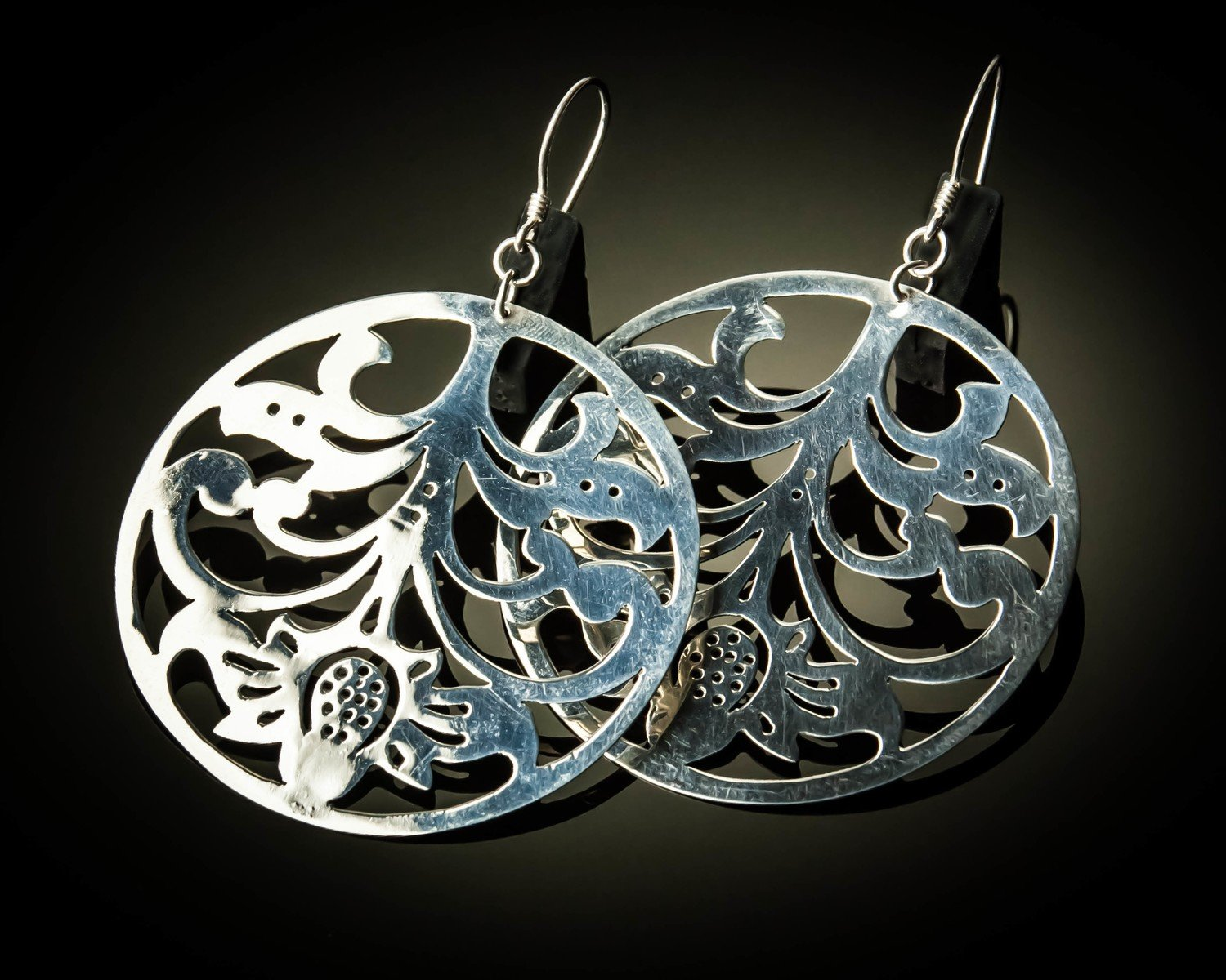 Large Round Sterling Silver Cutout Earrings