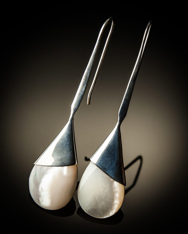 Mother of Pearl Teardrop Sterling Silver Earrings