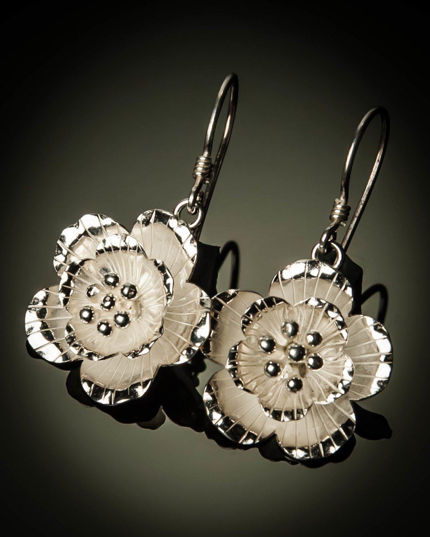 Sterling Silver Hibiscus Earrings