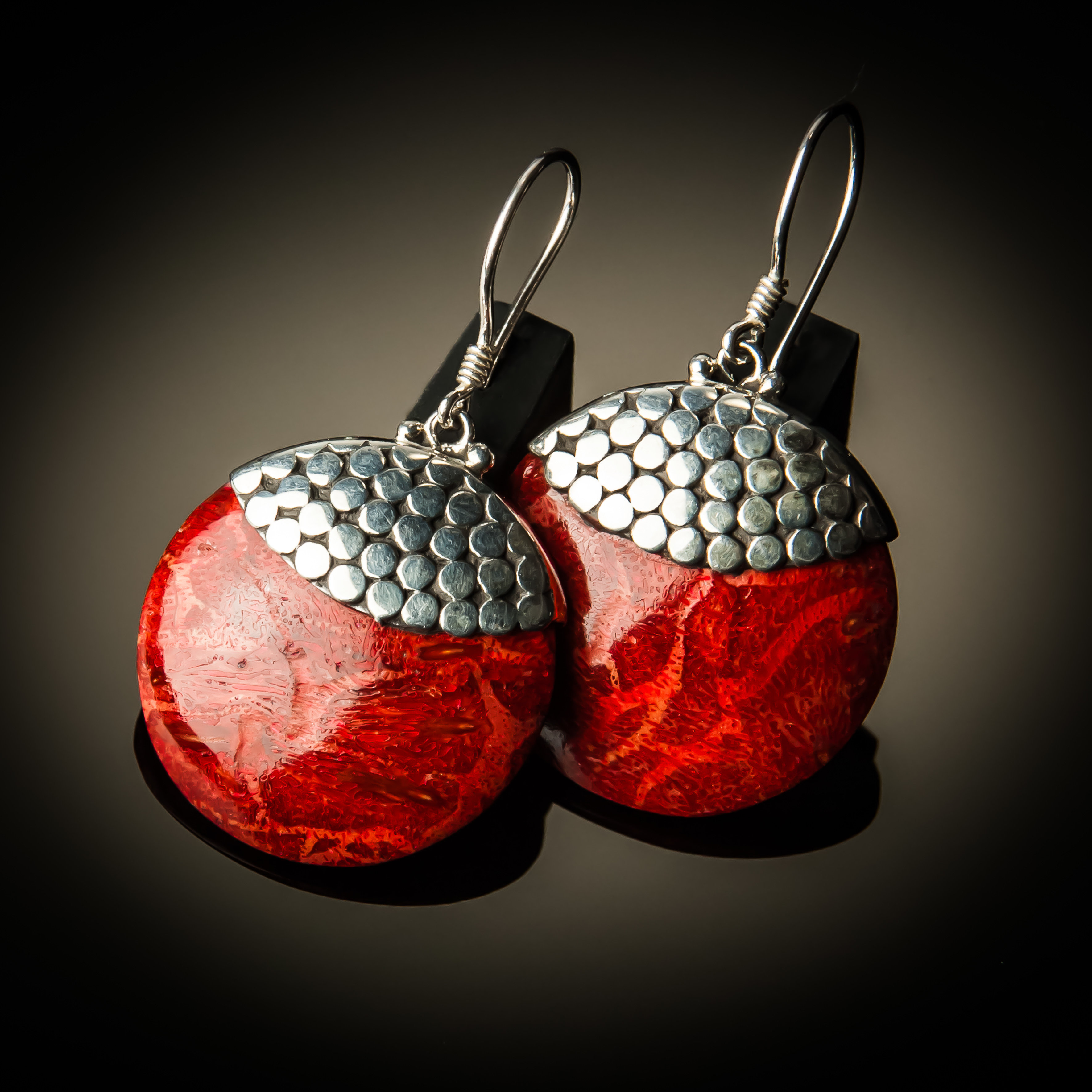 Red Coral Round Sterling Silver Earrings ER-09055 Red coral