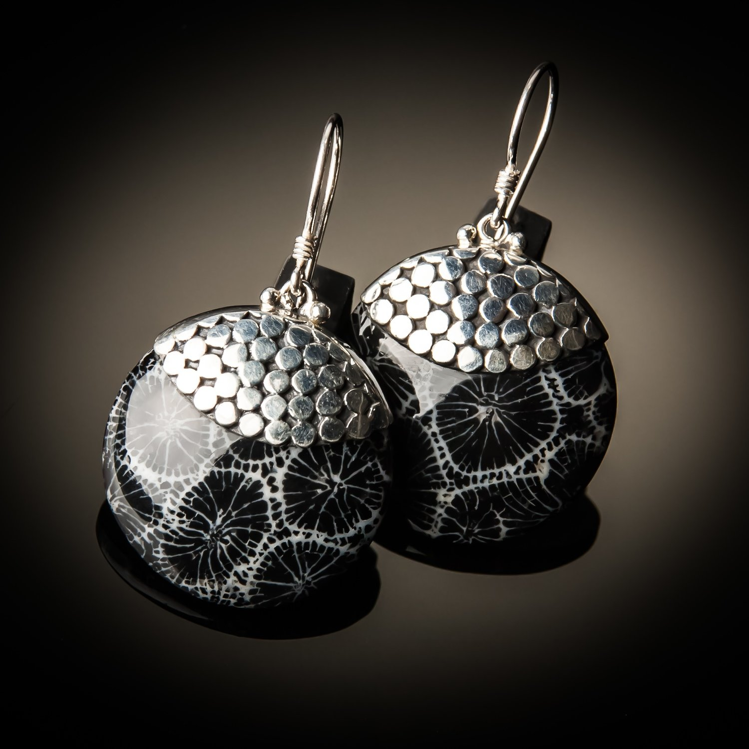 Black Coral Round Sterling Silver Earrings