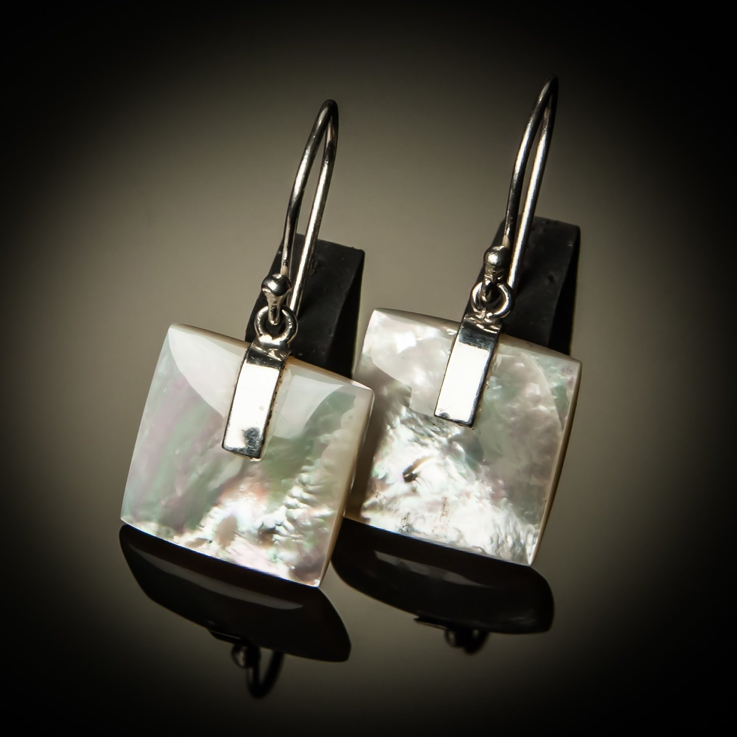 Square Mother of Pearl Sterling Silver Earrings-Small