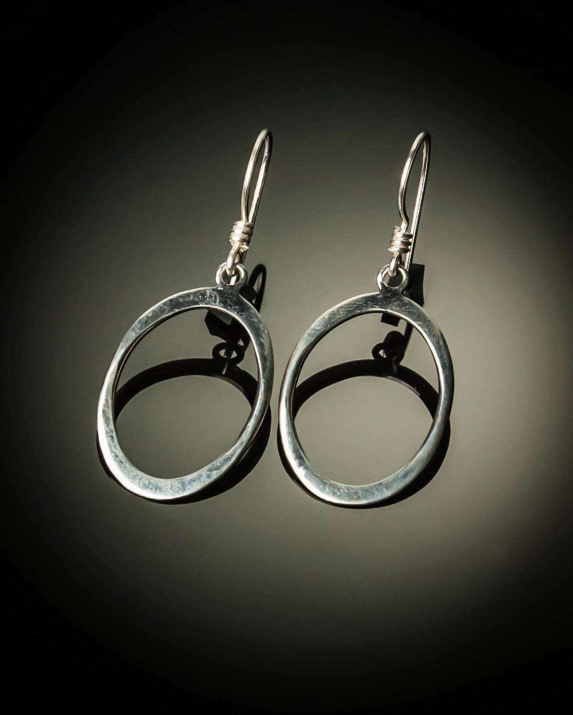 Oval Sterling Silver Earrings- Small
