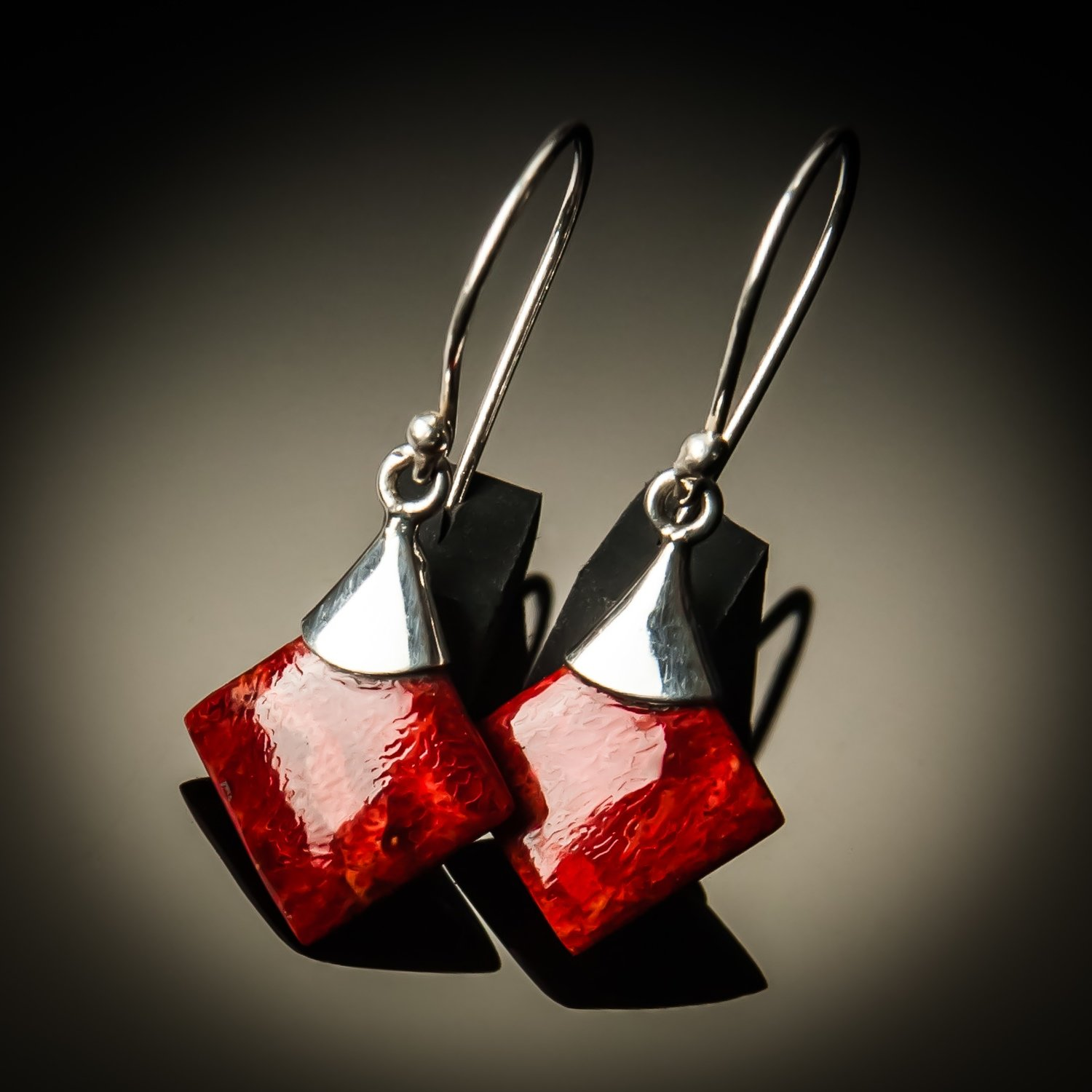 Red Coral Sterling Silver Earrings-Small