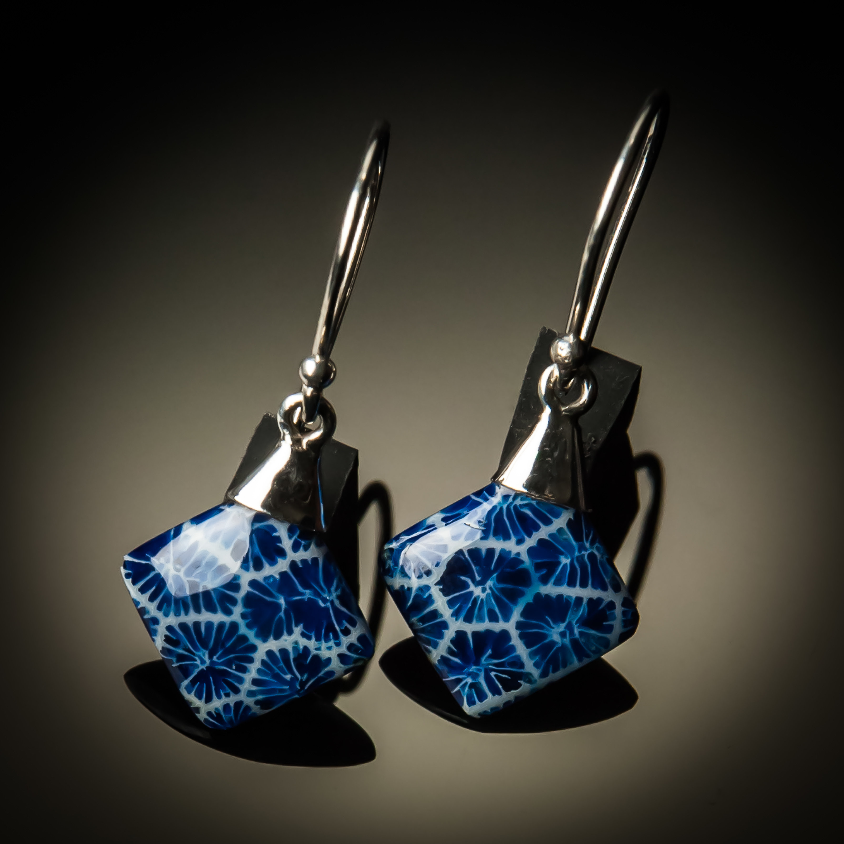Blue Coral Small Sterling Silver Earrings ER-09012S-Blue coral