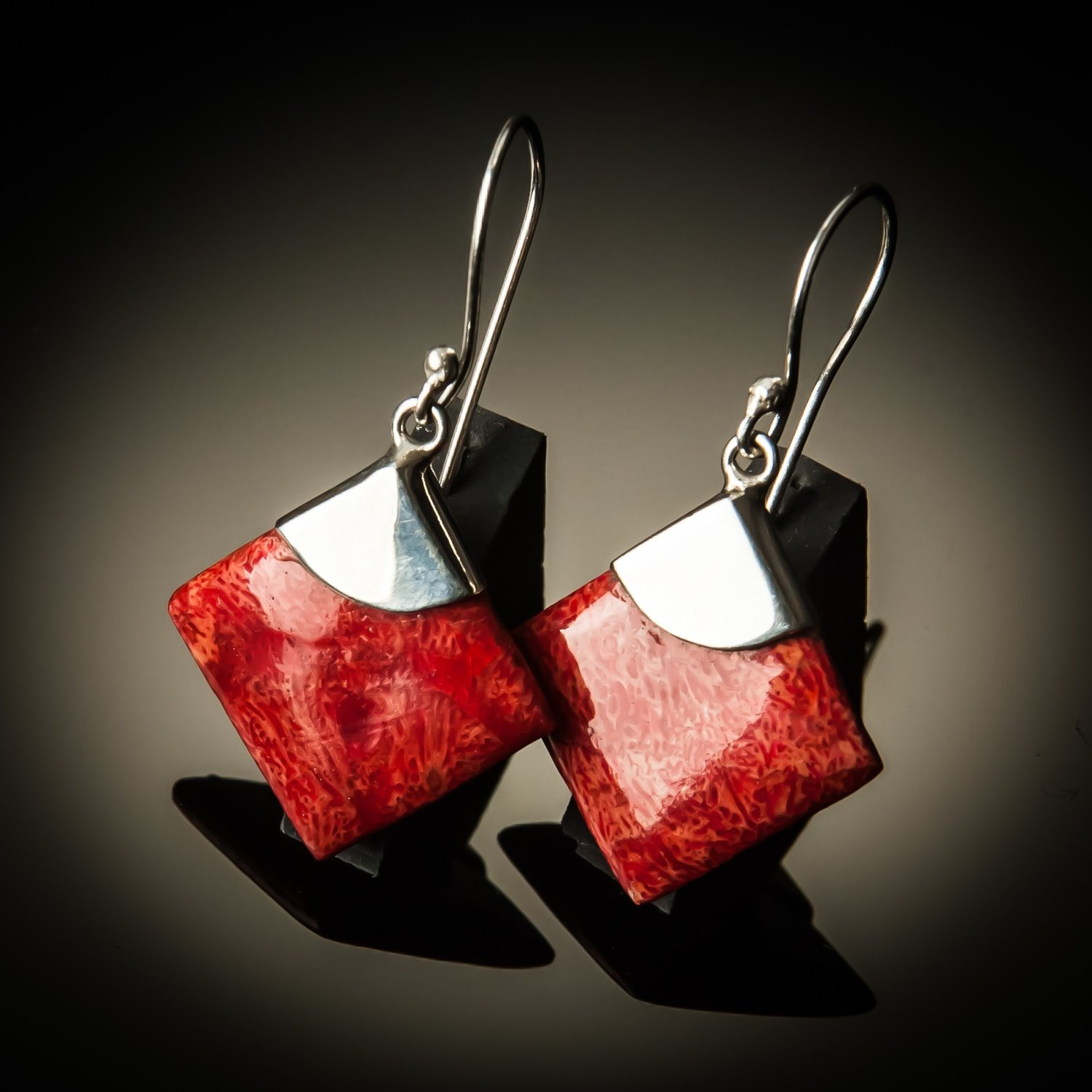 Red Coral Diamond Sterling Silver Earrings- Large