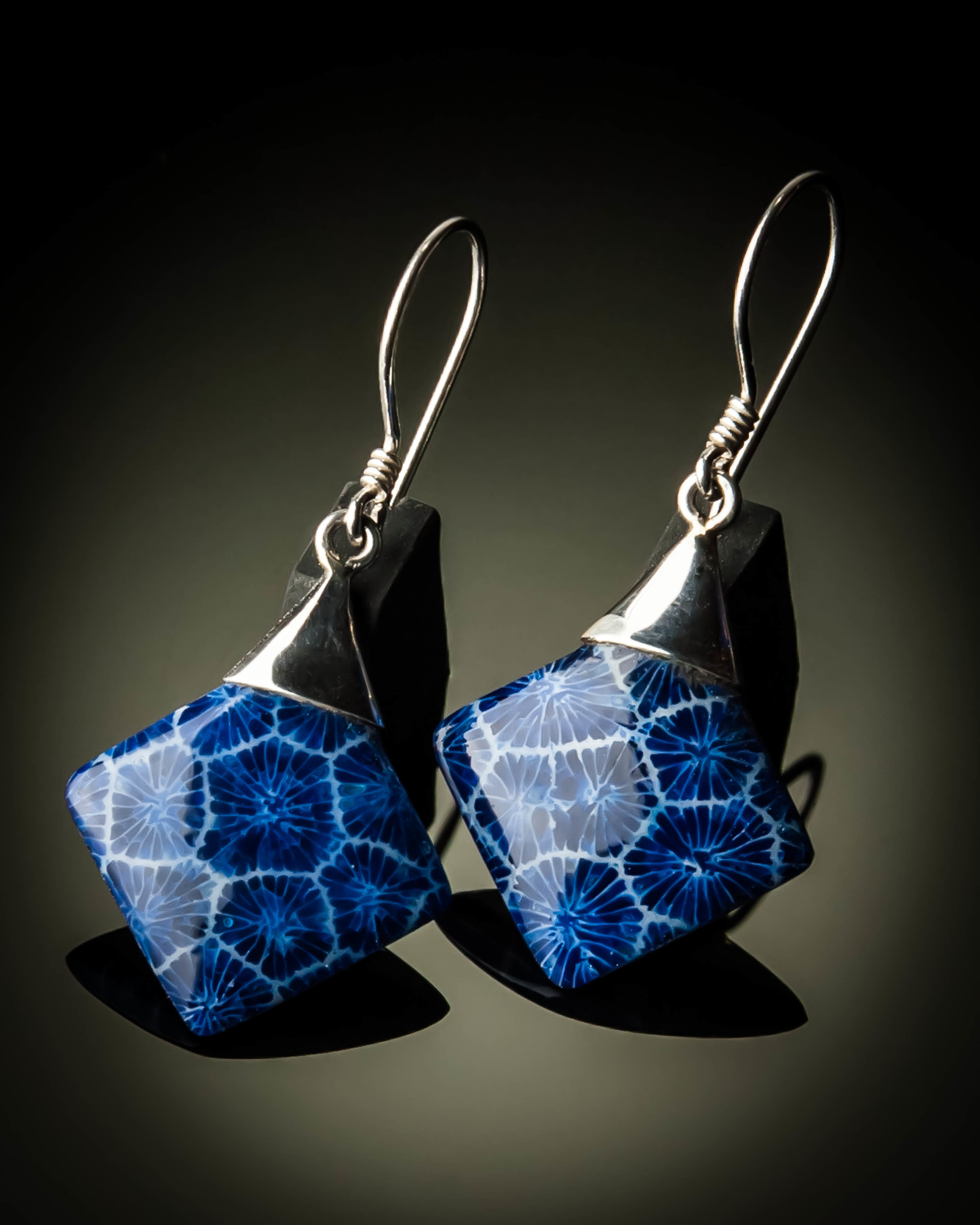 Blue Coral Diamond Shaped Sterling Silver Earrings ER-09012L-Blue coral