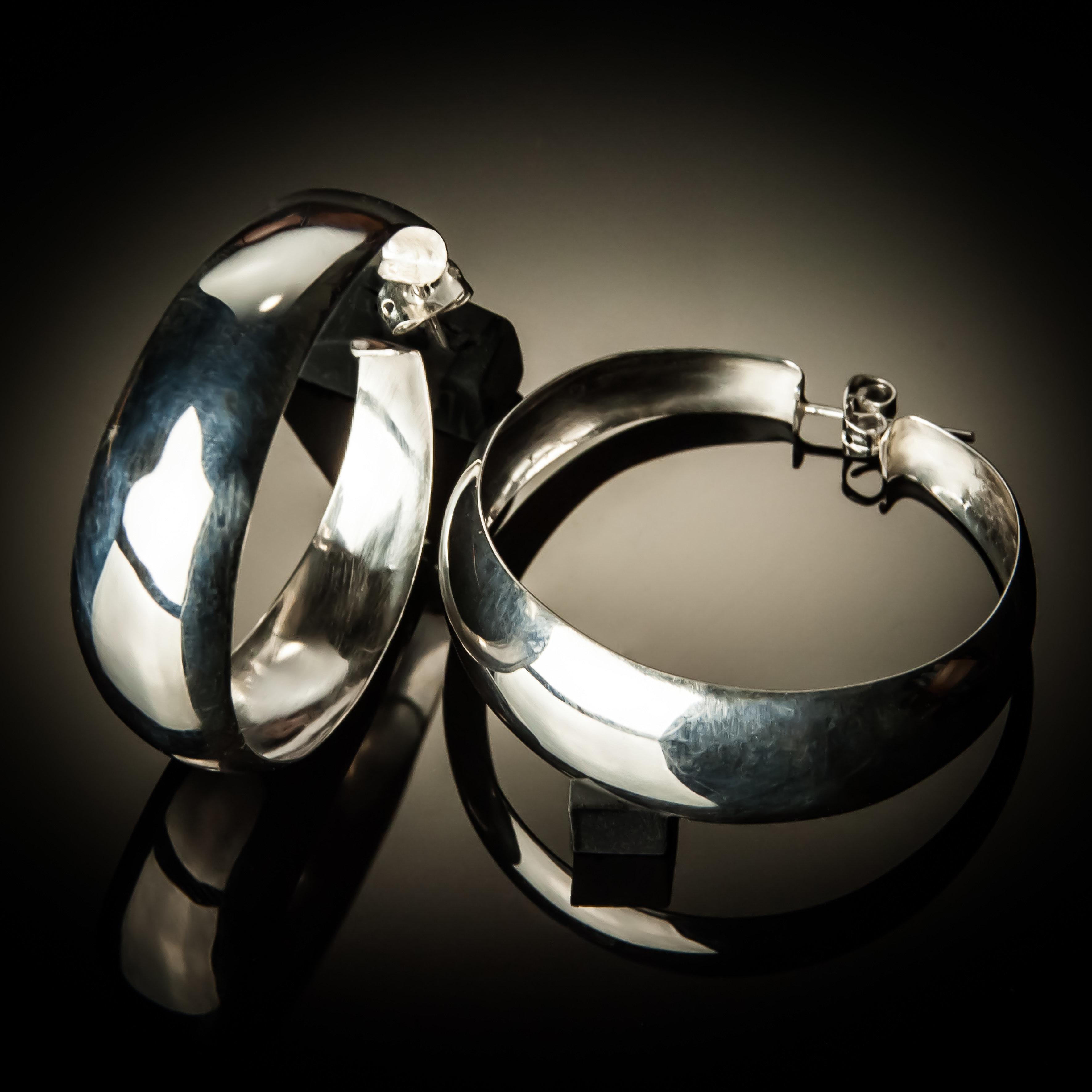 Sterling Silver Large Hoop Earrings ER-09005