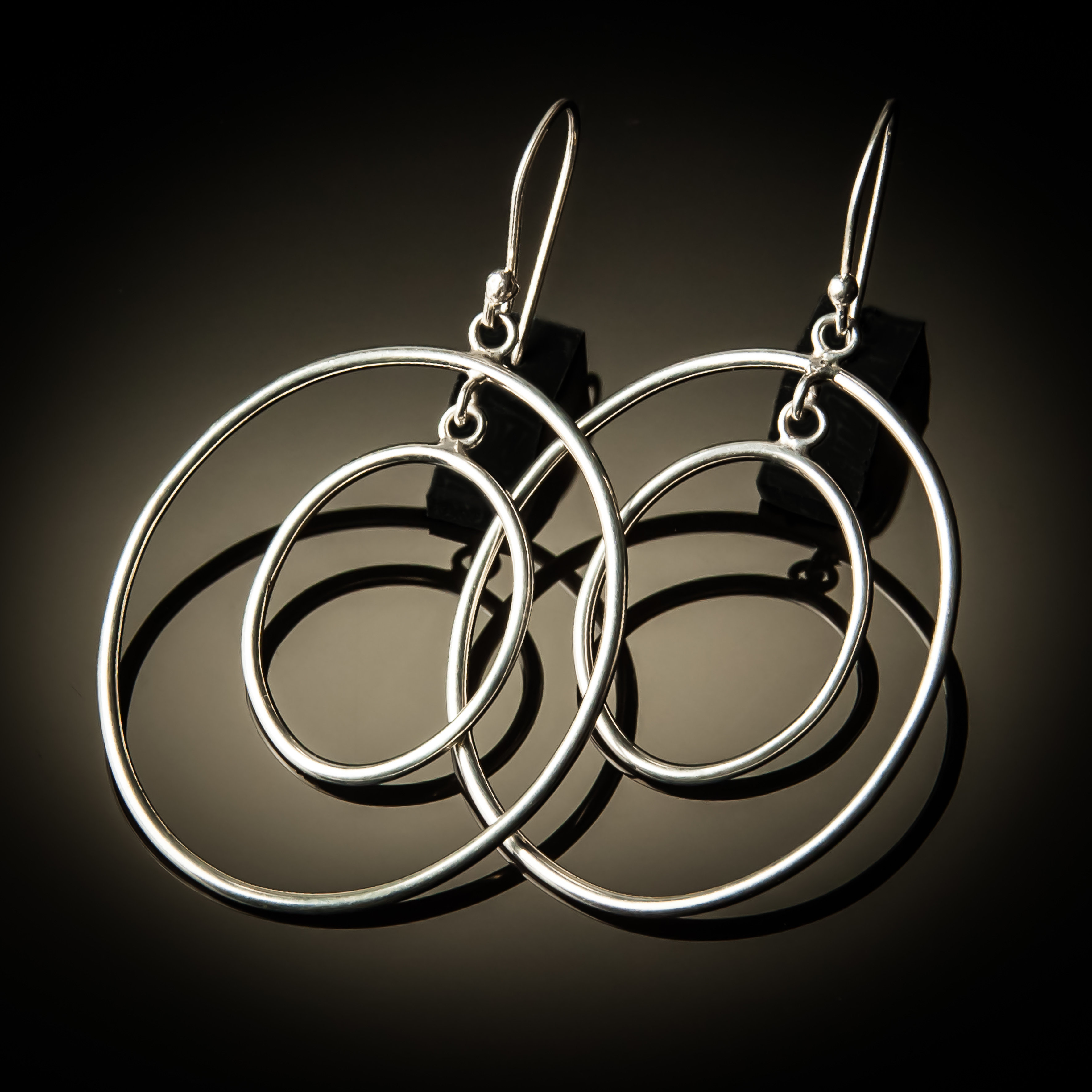 Double Hoop Oval Sterling Silver Earrings ER-0811