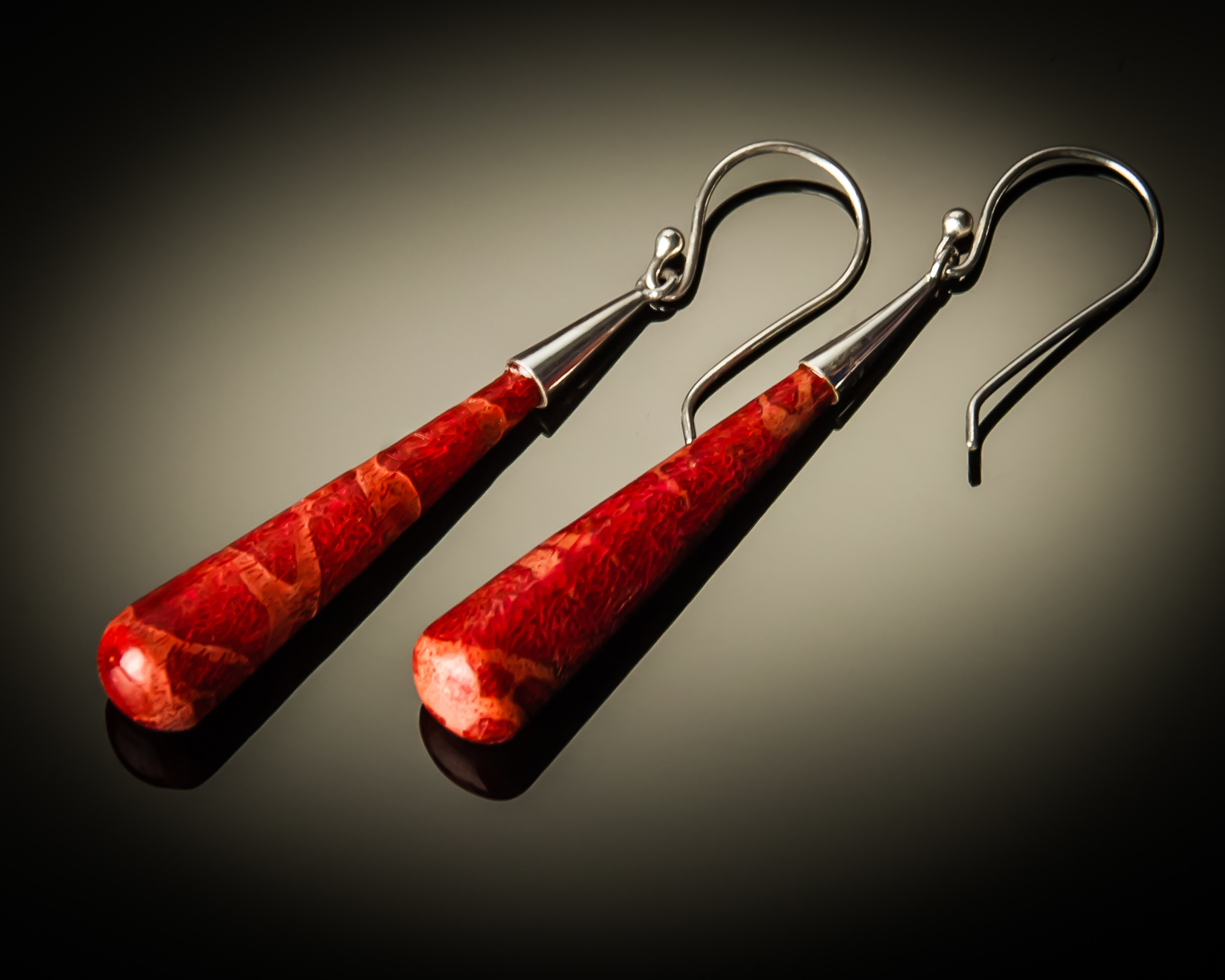 Red Coral Cone Sterling Silver Earrings- medium ER-08018M-Red coral