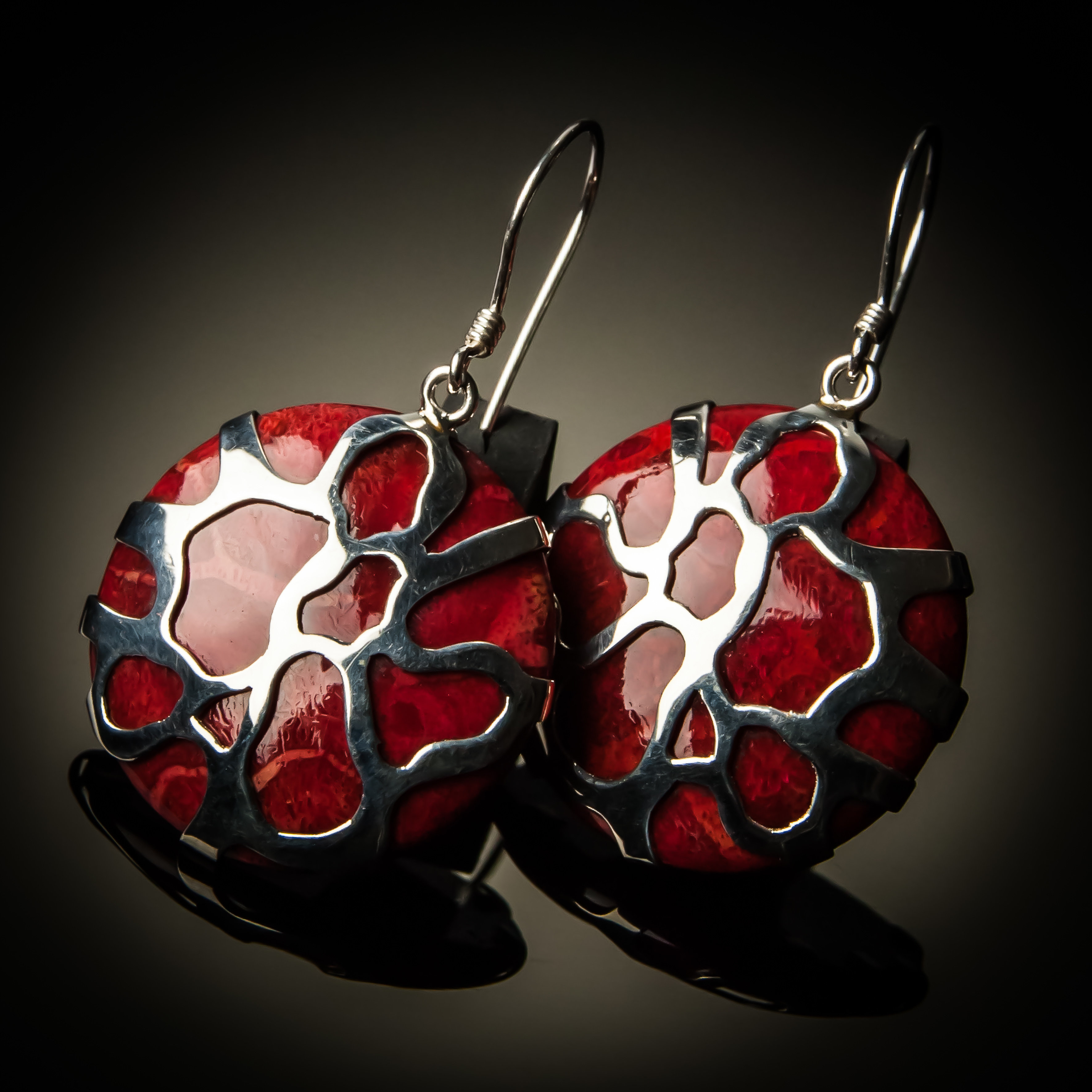 Red Coral Sterling Silver Cobweb Design Earrings ER-08006-Red coral