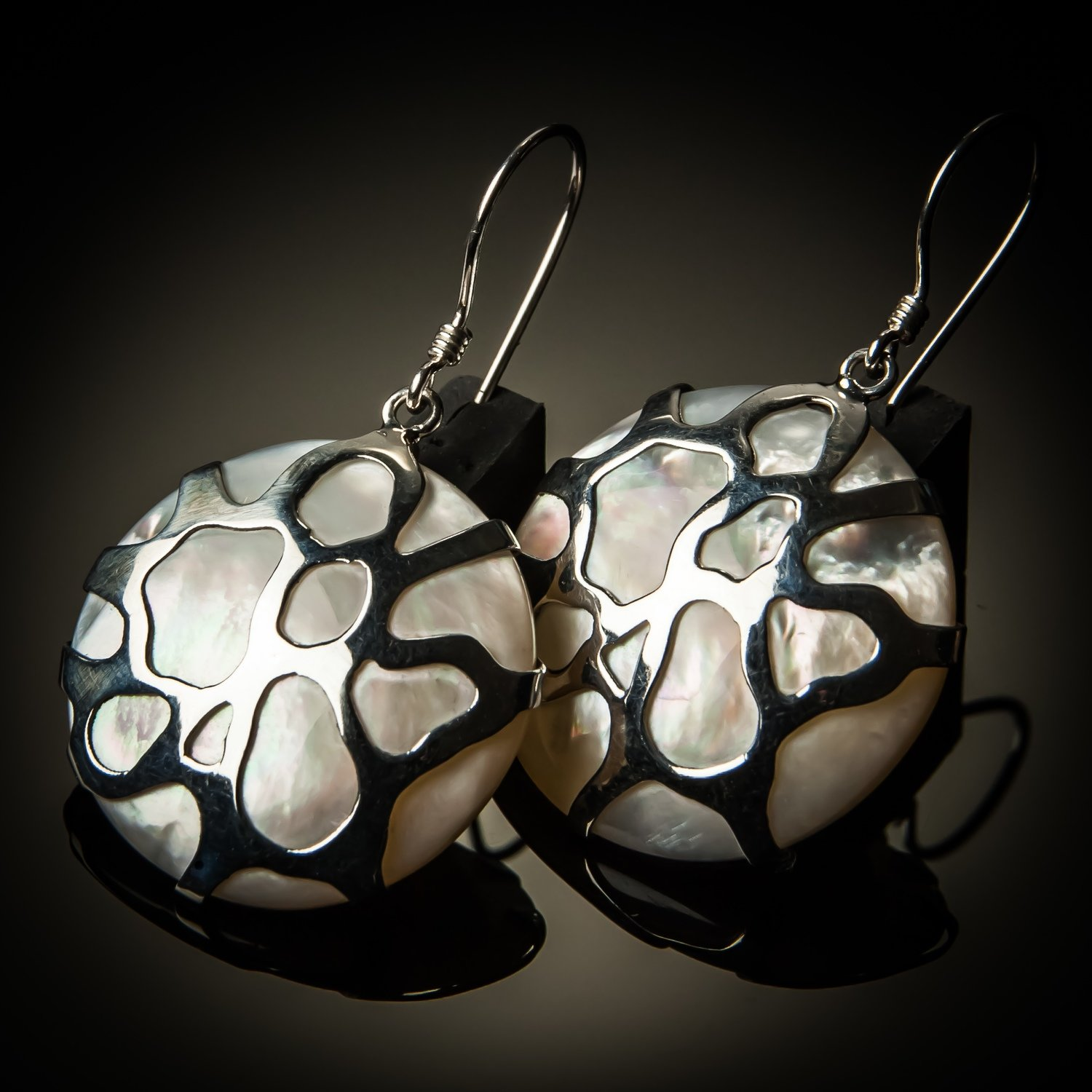 Mother of Pearl Cobweb Sterling Silver Earrings