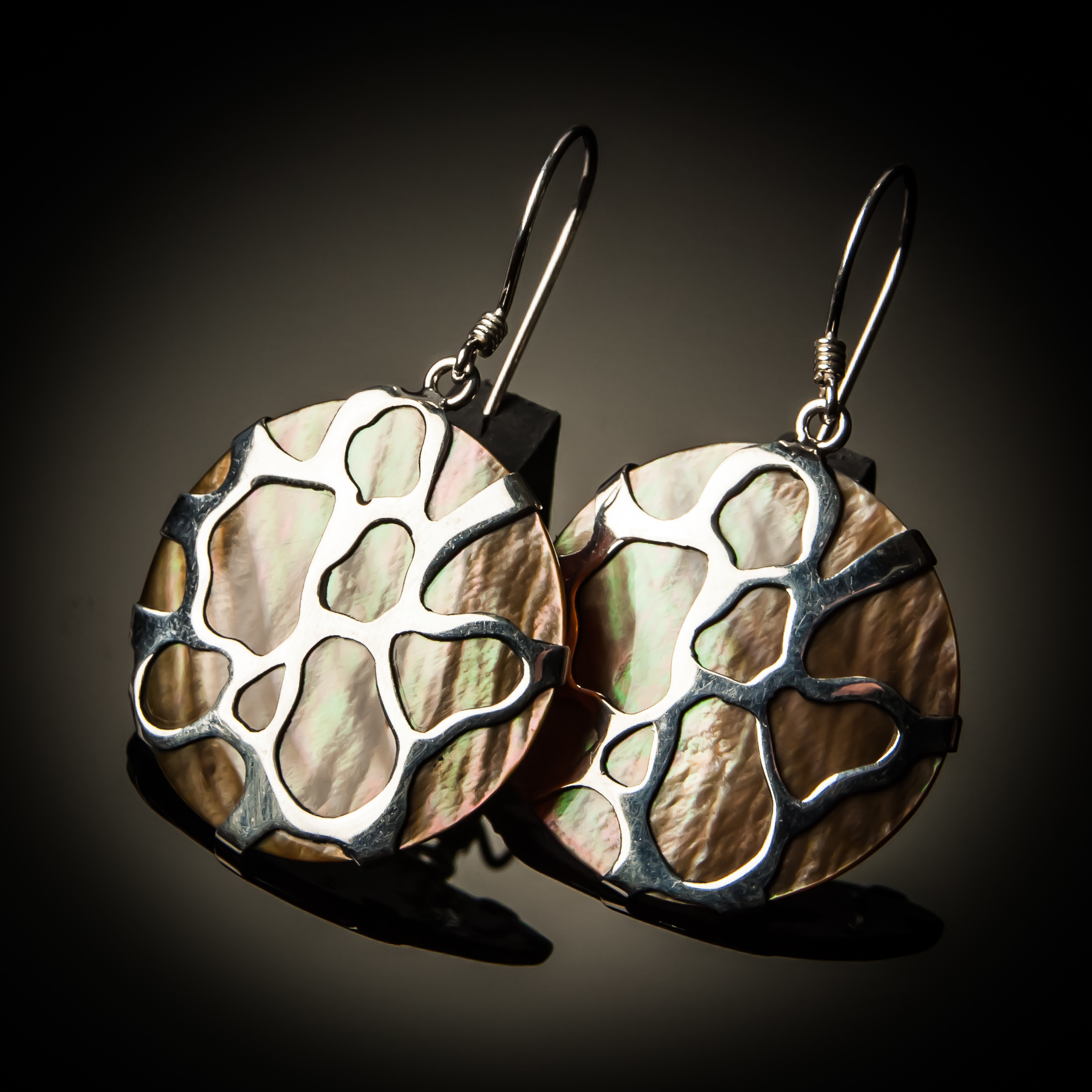 Brown Mother of Pearl Cobweb Sterling Silver Earrings ER-08006-Brown shell
