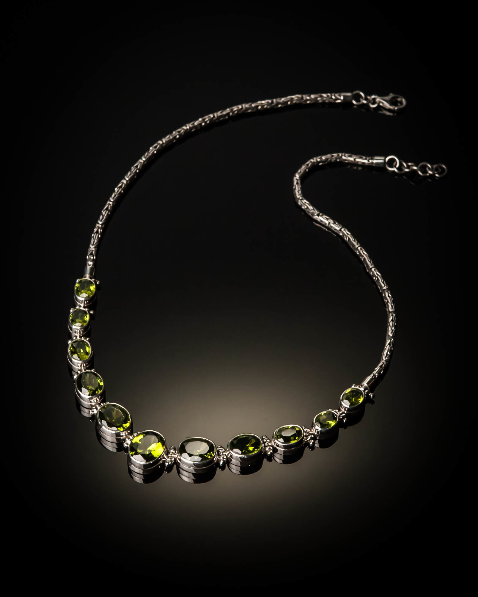 Sterling Silver Natural Peridot Necklace AKL-XXX-Peridot
