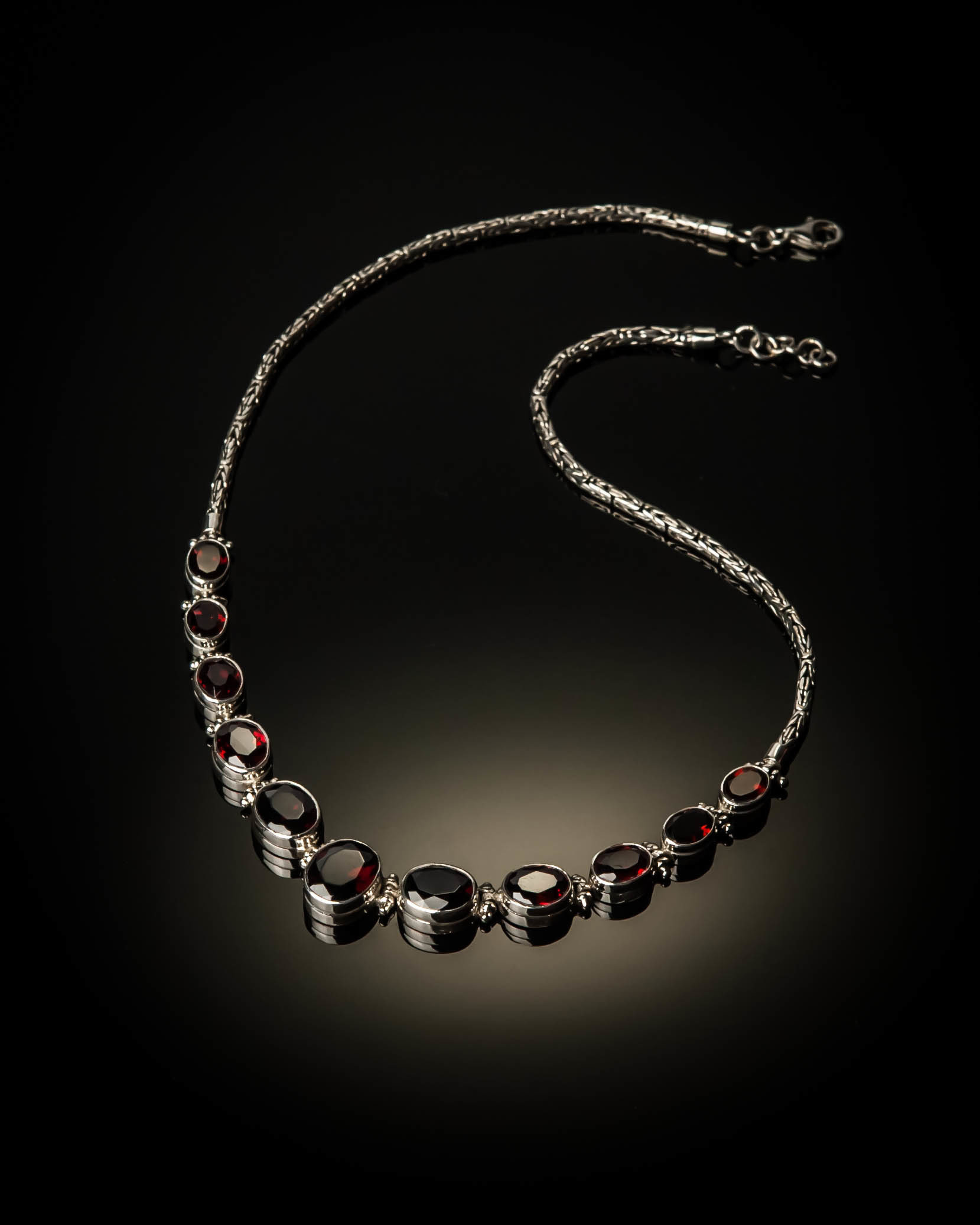 Sterling Silver Natural Garnet Necklace ELE-AKL-XXX-Garnet