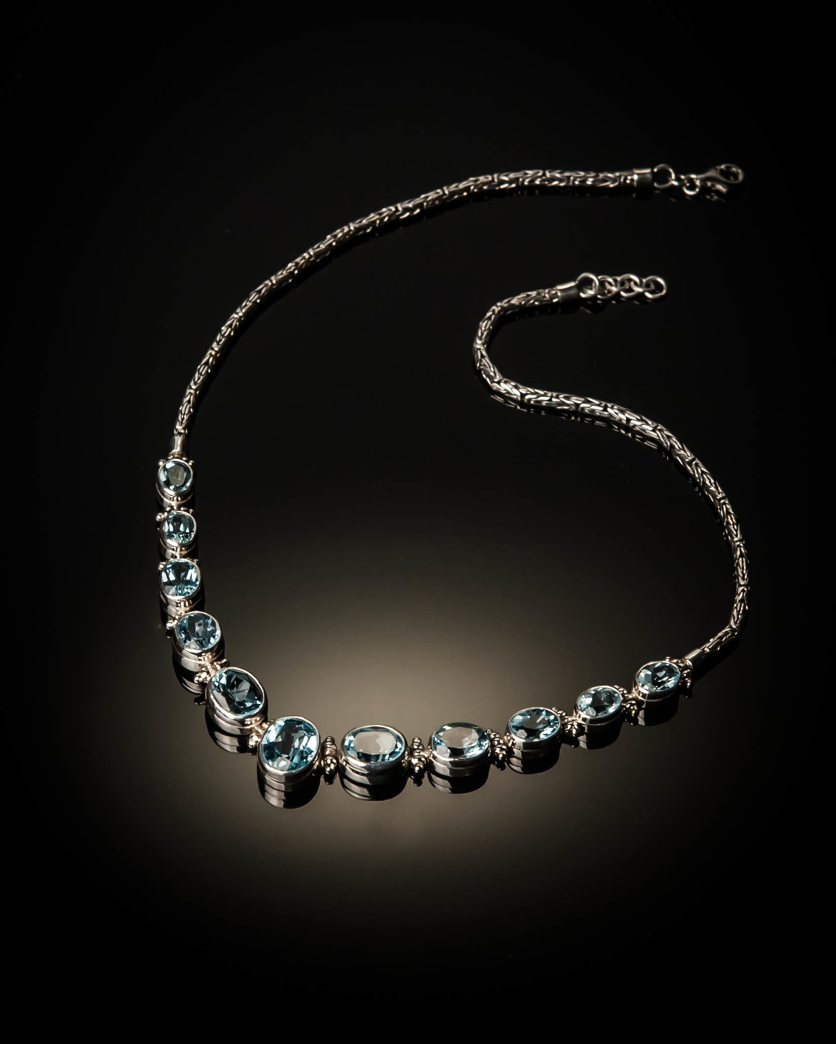 Sterling Silver Natural Blue Topaz Necklace AKL-XXX-Blue Topaz