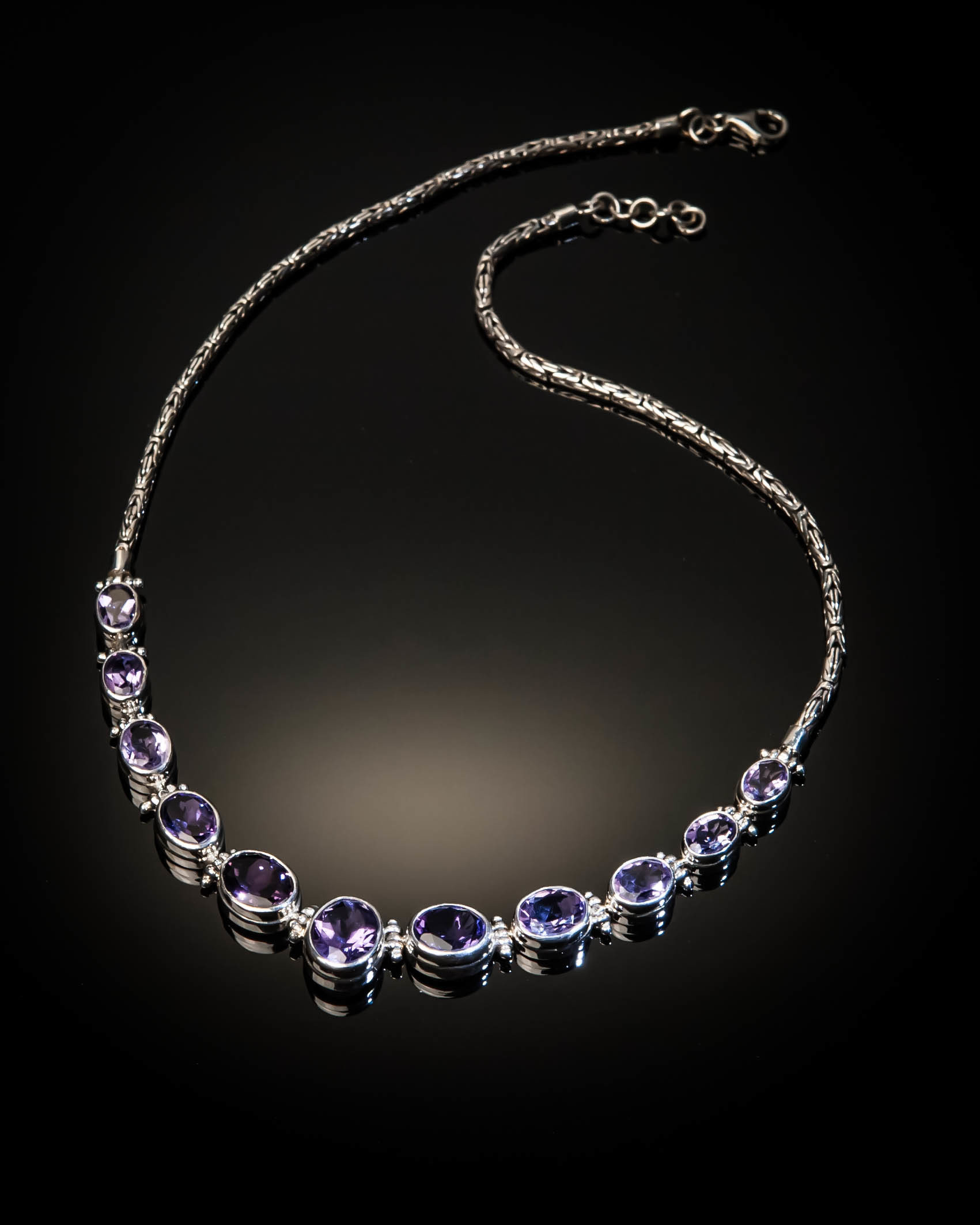 Sterling Silver Natural Amethyst Necklace AKL-XXX-Amethyst