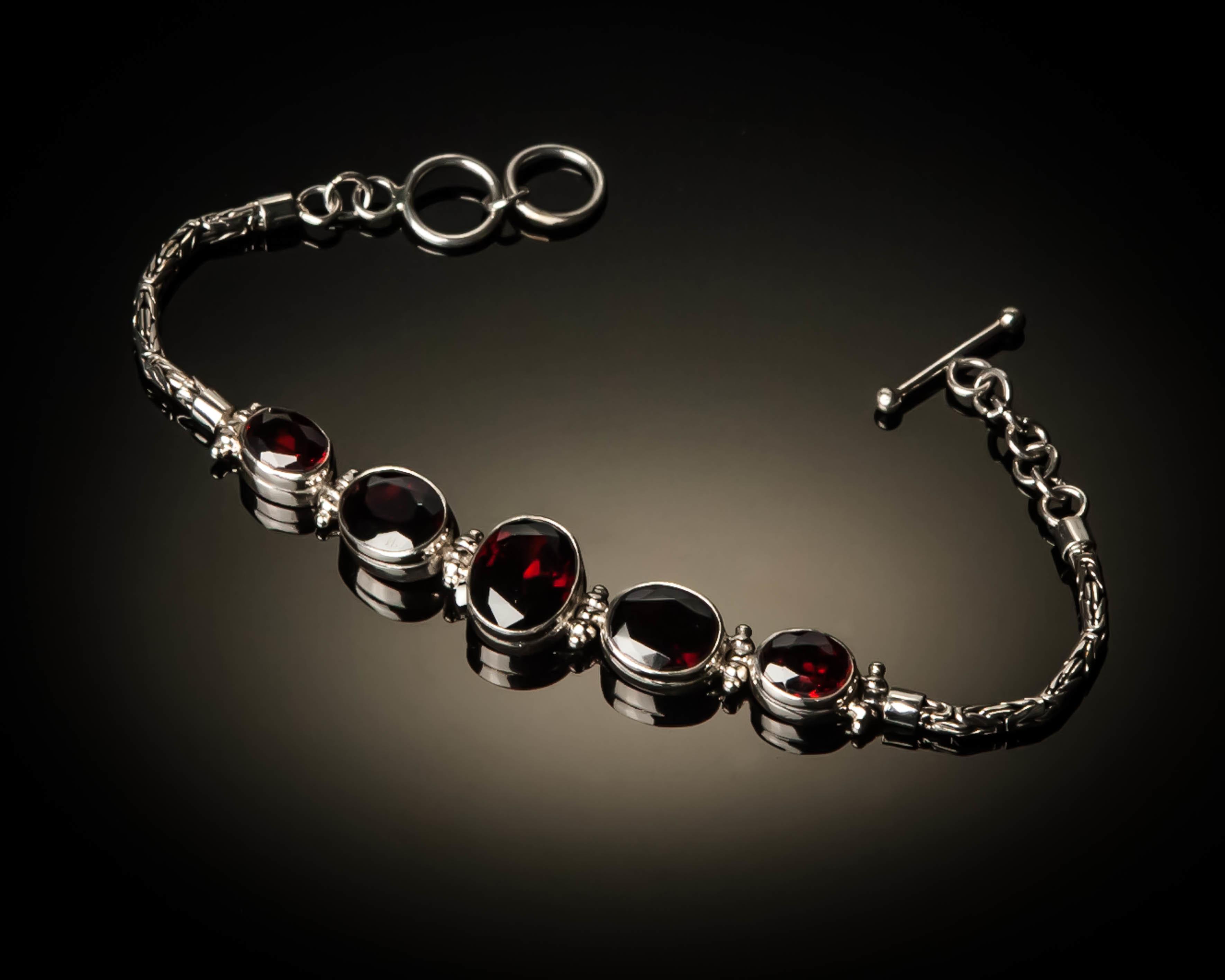 Sterling Silver Natural Garnet Bracelet AGL-XXX-Garnet