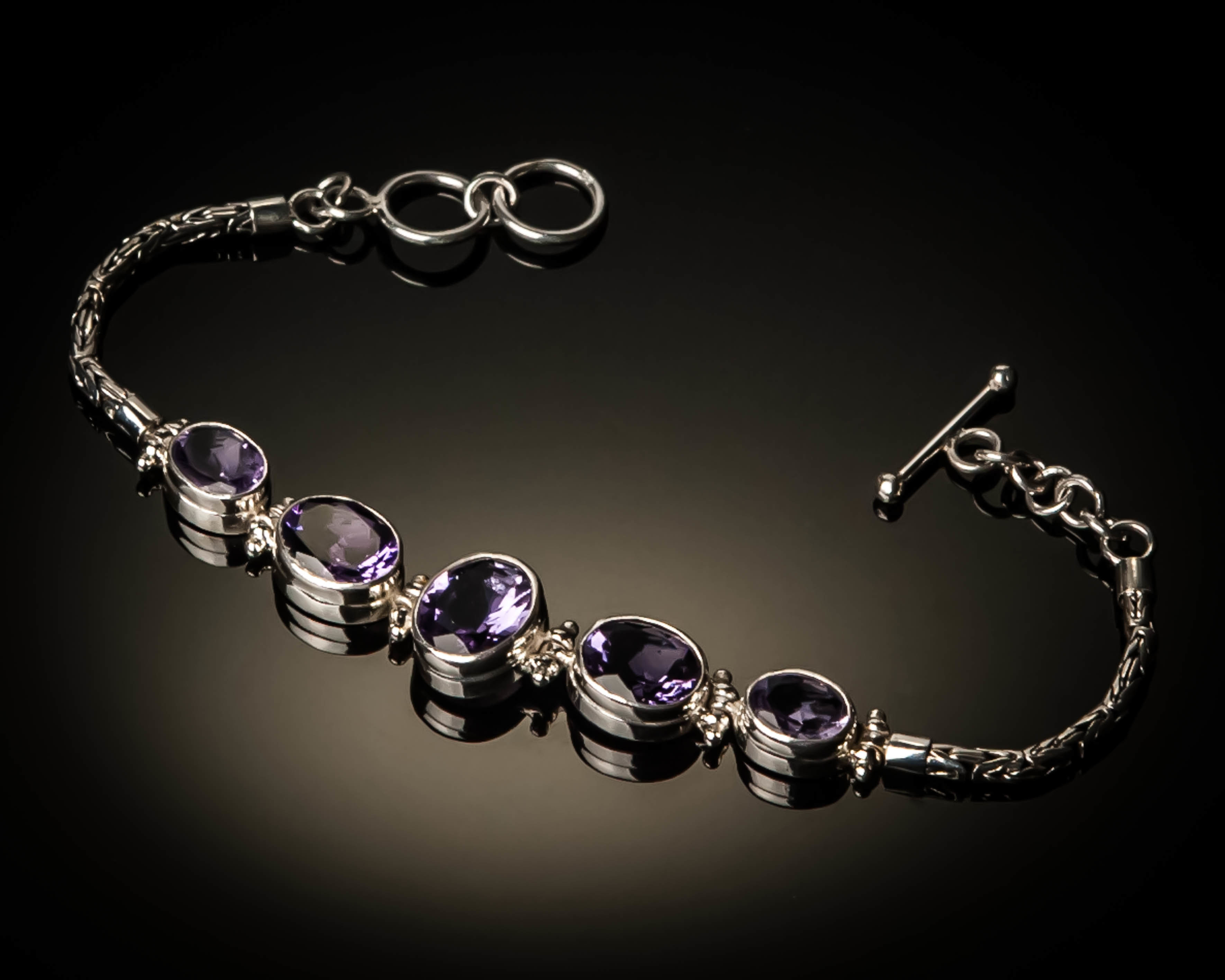 Sterling Silver Natural Amethyst Bracelet AGL-XXX Amethyst