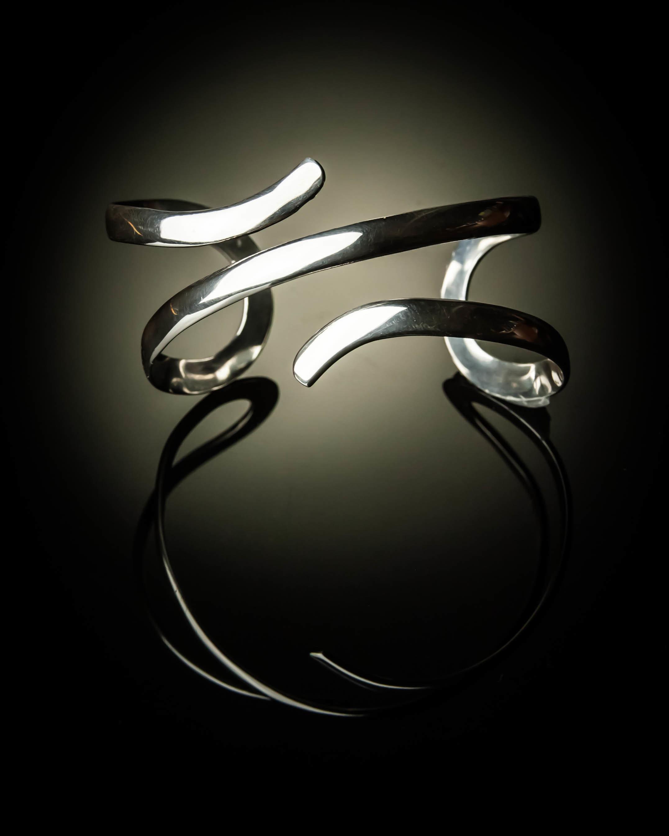 Sterling Silver Double Swirl Bracelet BR-09008