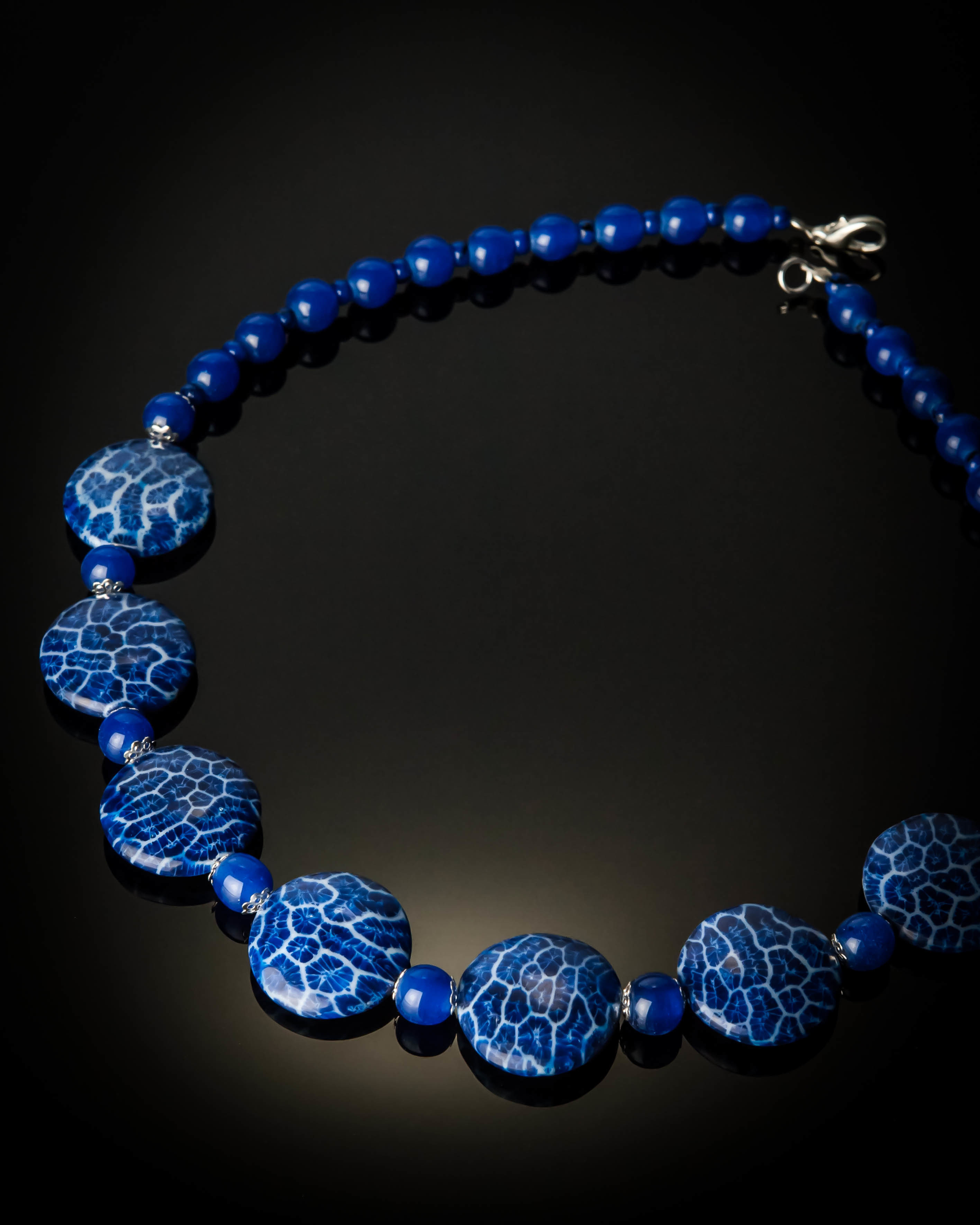 Blue Coral Blue Glass Beads Necklace 992S