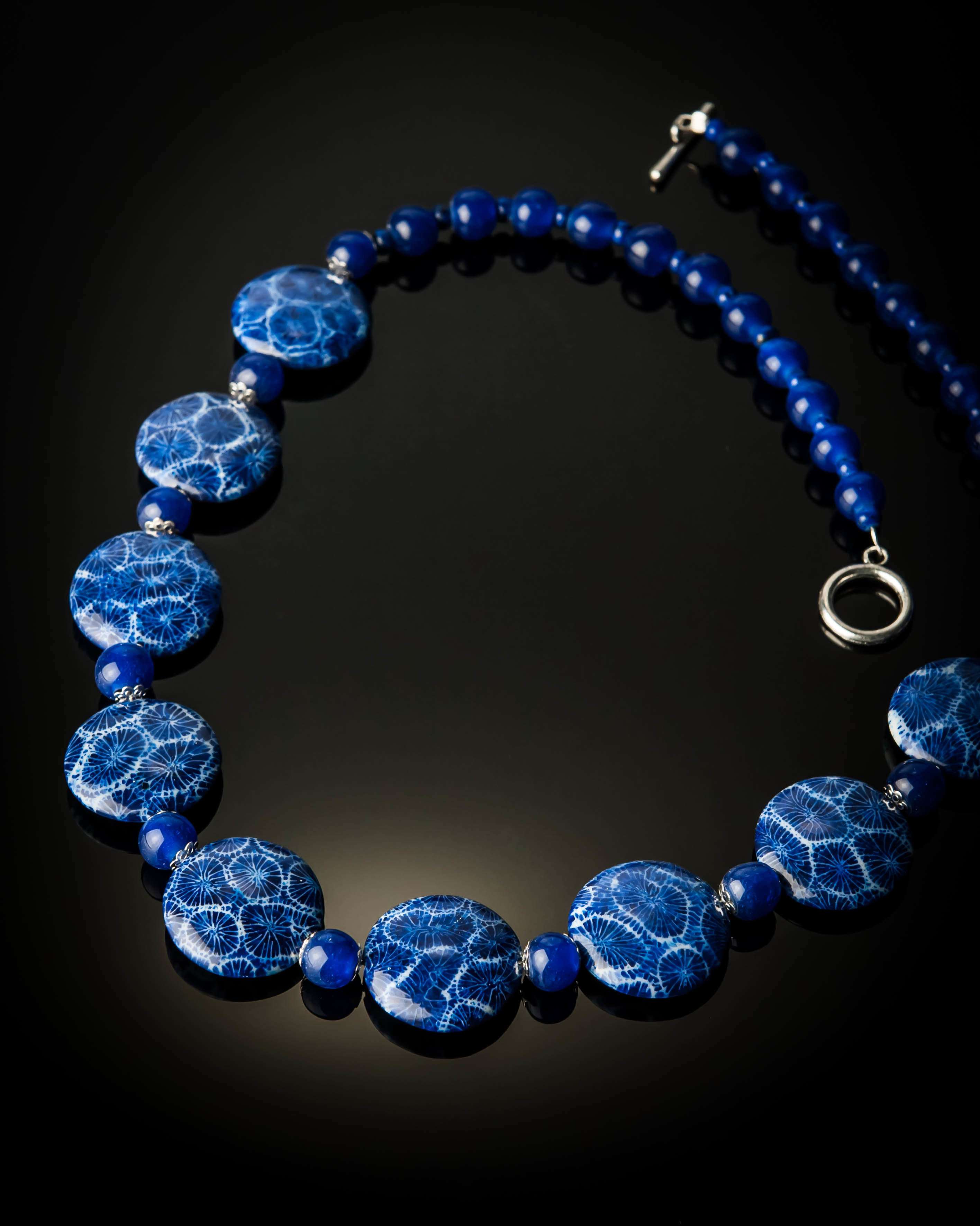 Blue Coral Blue Glass Beads Large Necklace 992L
