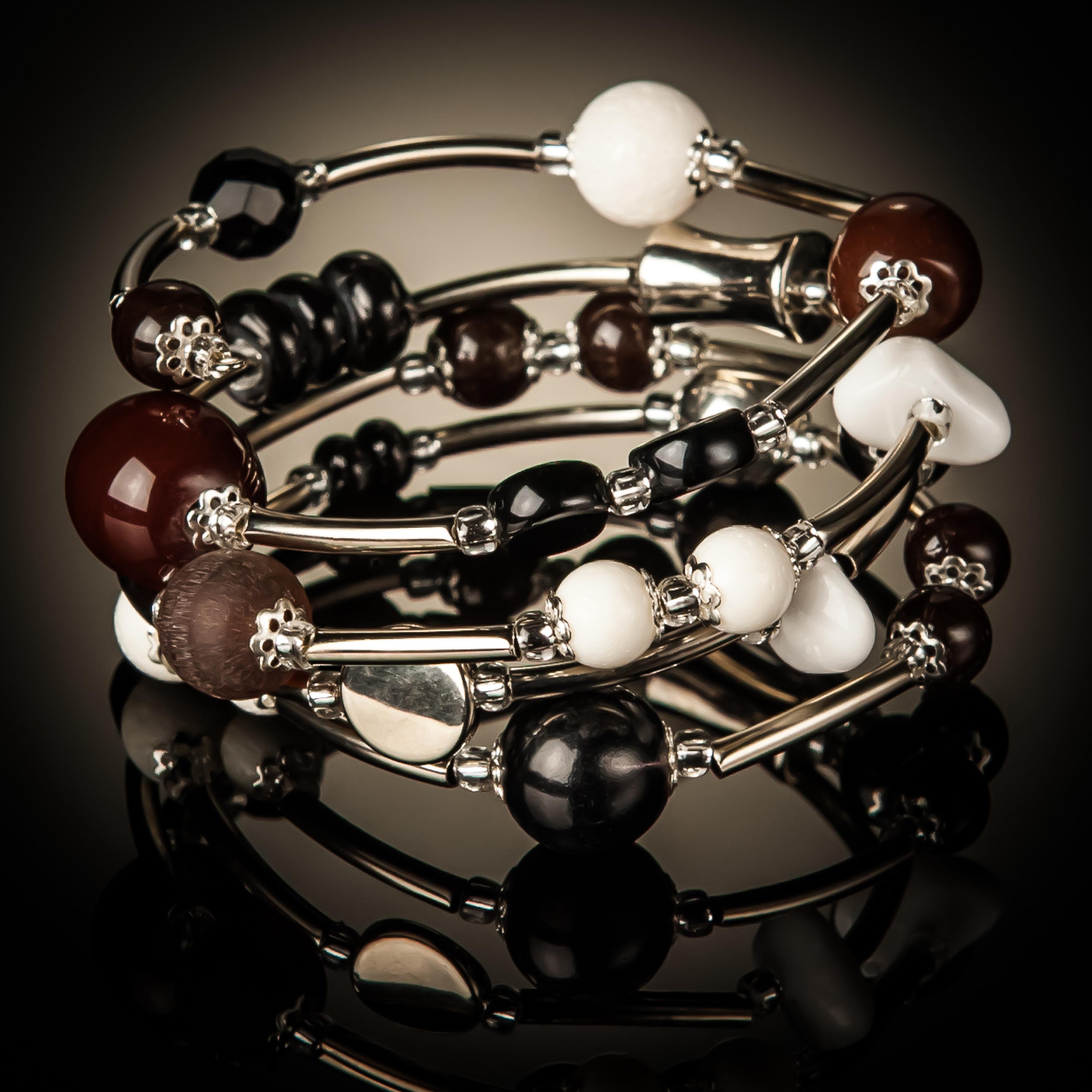 White Coral Brown Black Bead Twist Bracelet 983