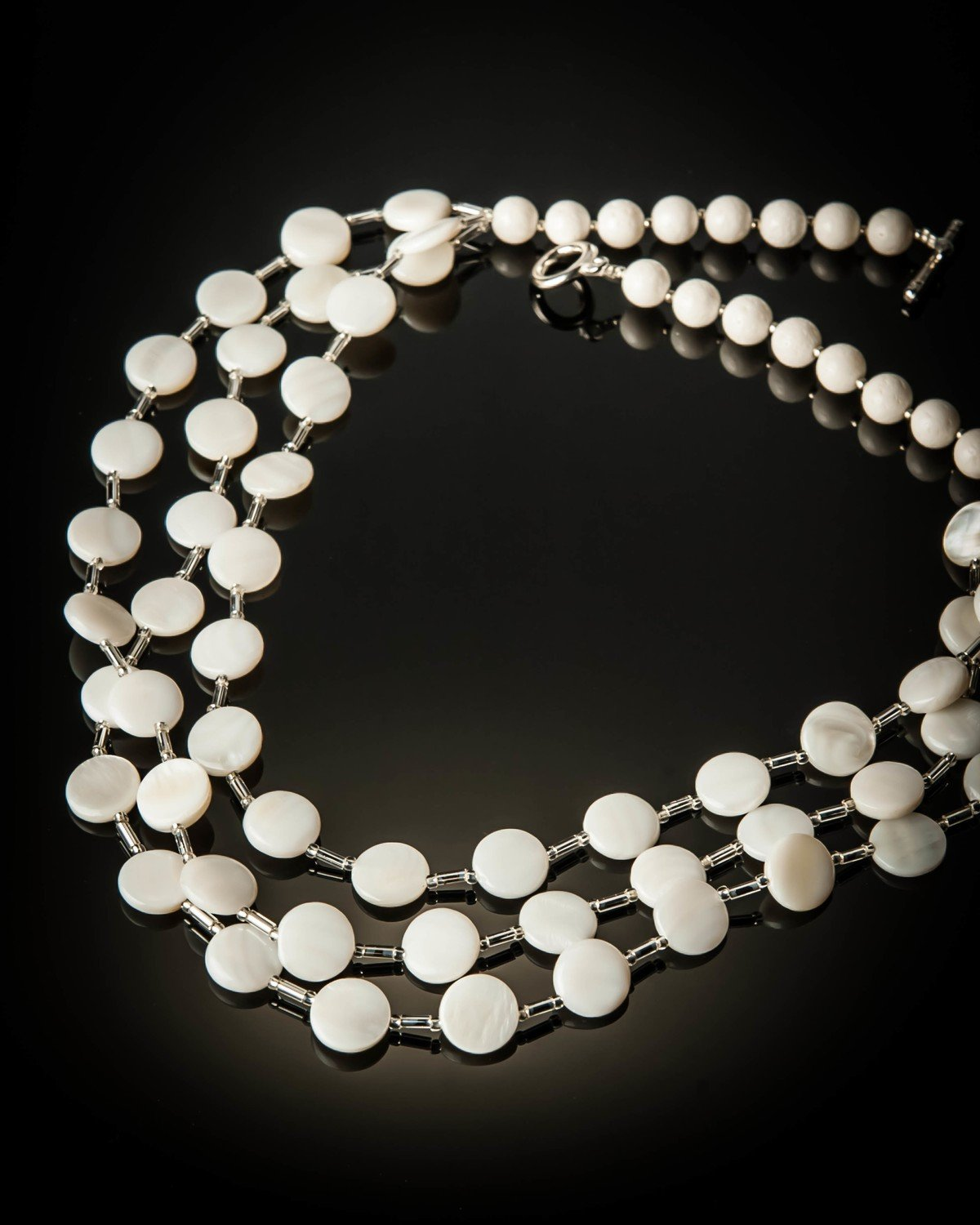 Mother of Pearl Layered with White Coral Necklace