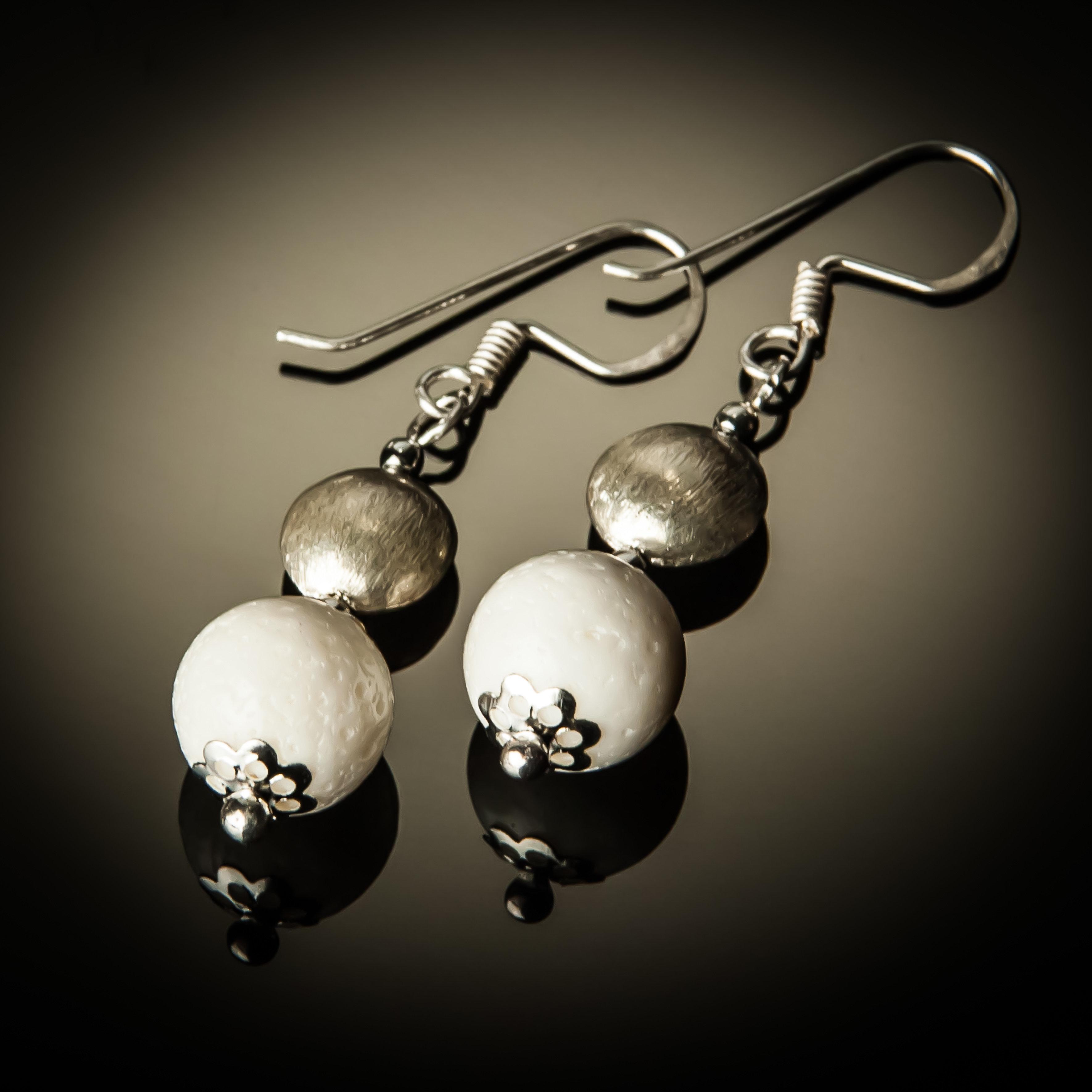 White Coral Sterling Silver Bead Earrings 939-ER
