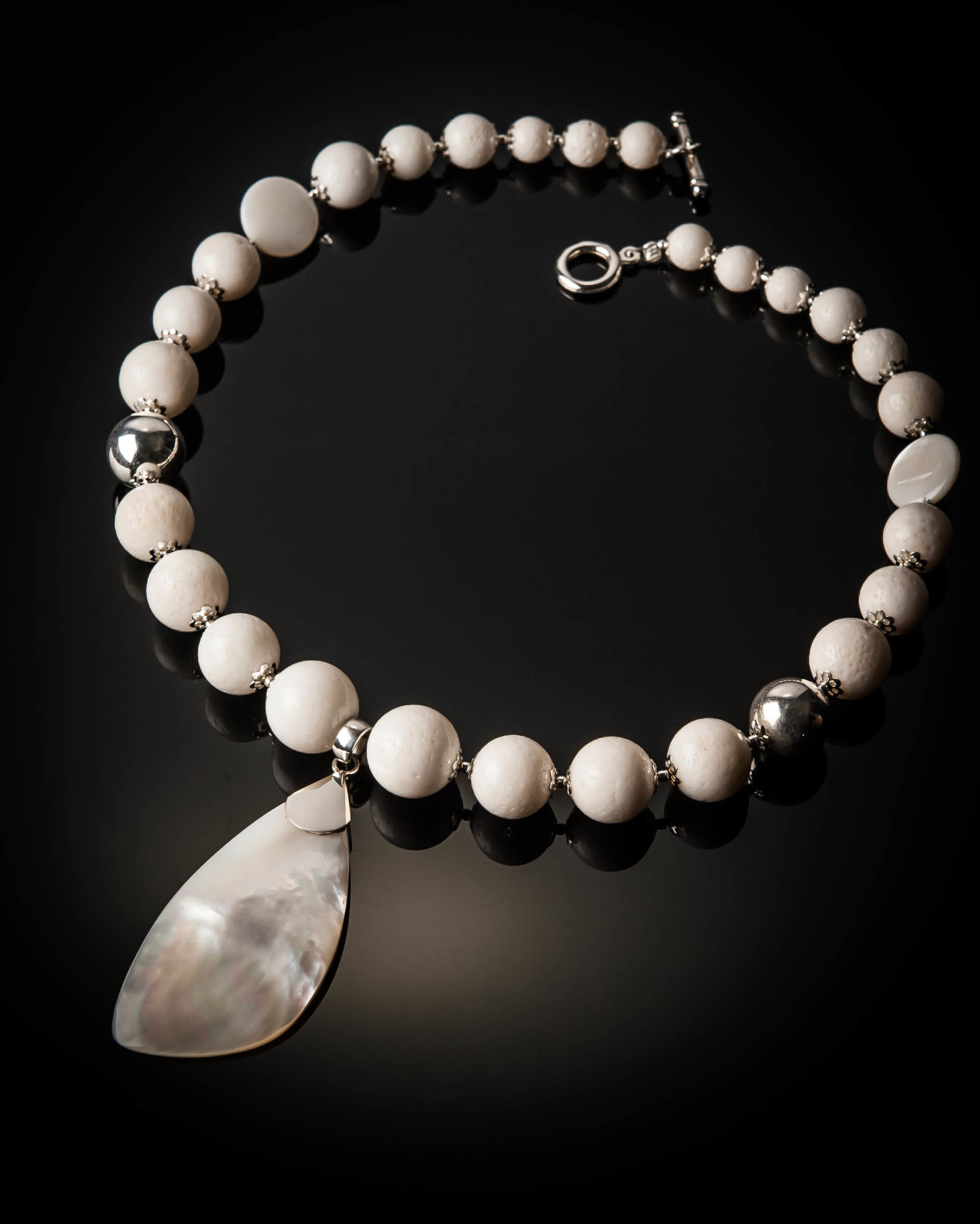 White Coral with Mother of Pearl Necklace 932 white