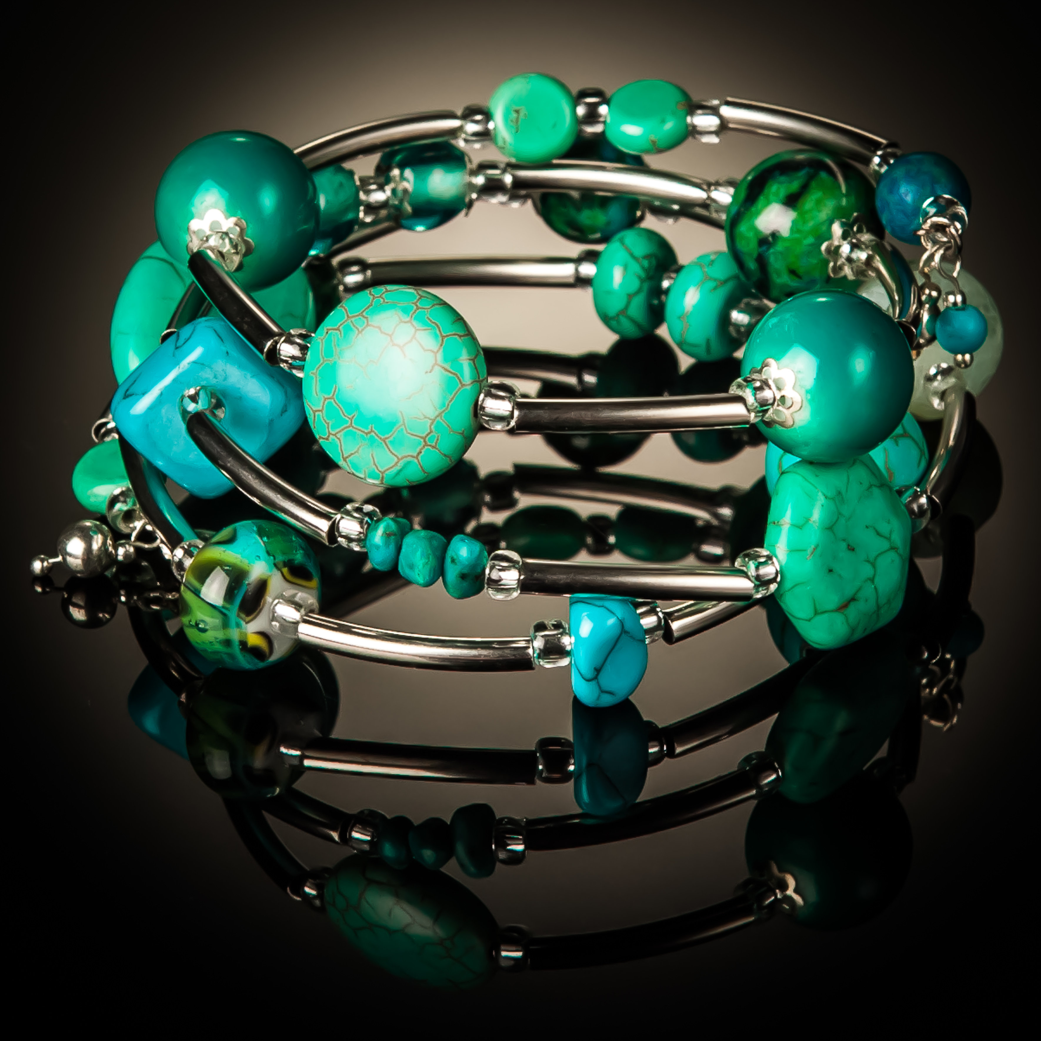 Turquoise Azurite Twist Bracelet 869