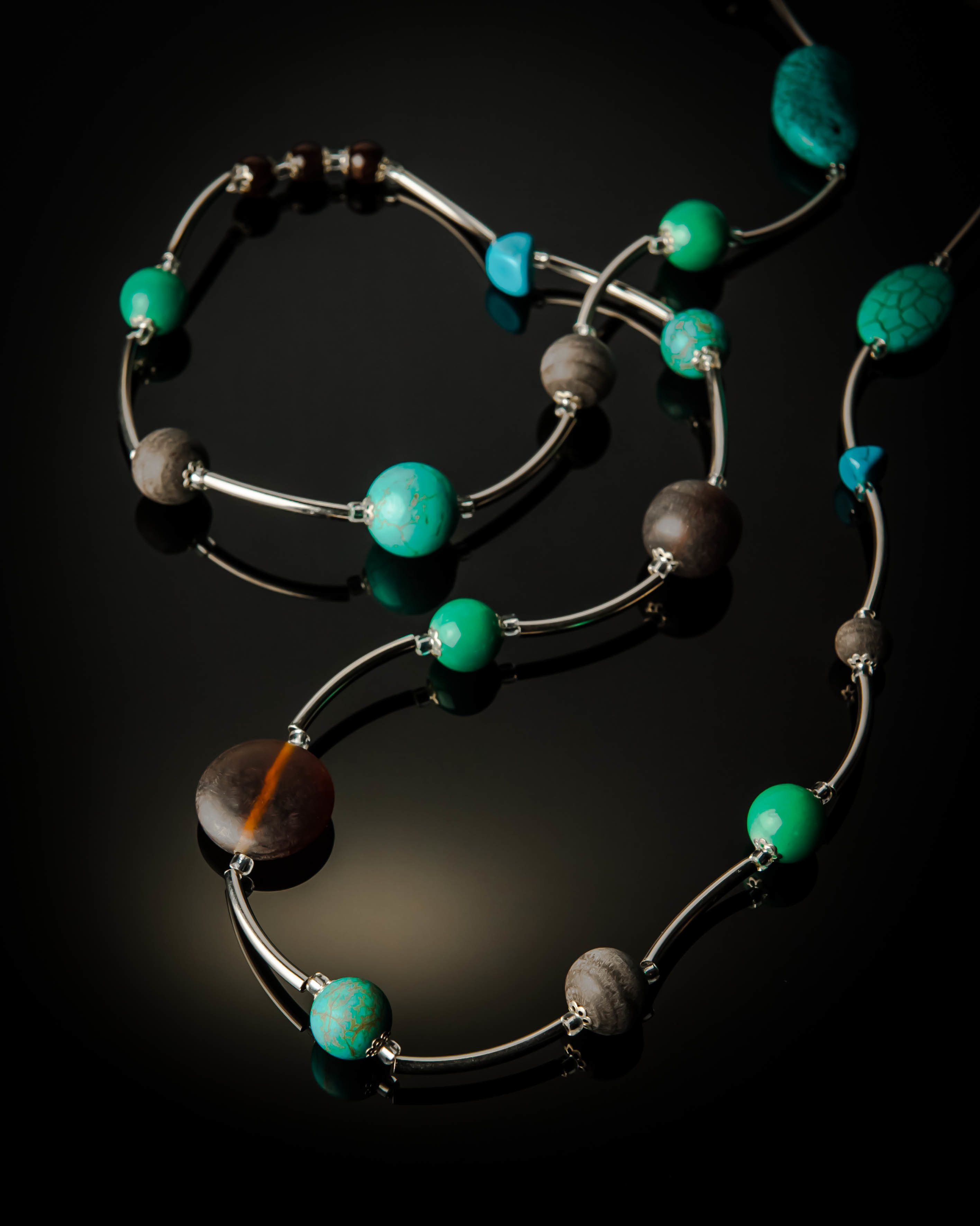 Turquoise Brown Long Necklace 839