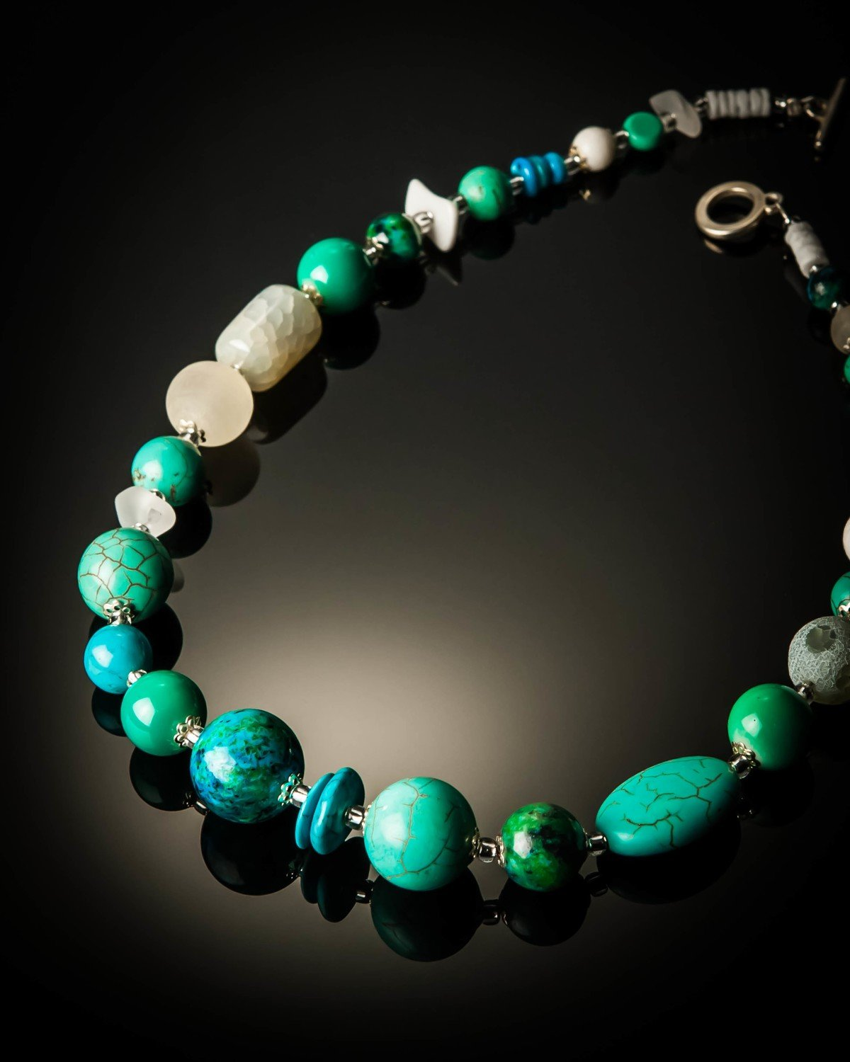 Turquoise Chrysocolla Azurite with Crystal Necklace