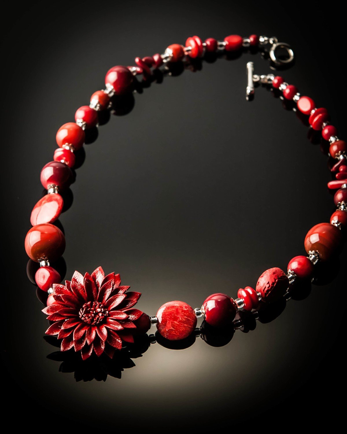Red Coral Red Leather Flower Necklace