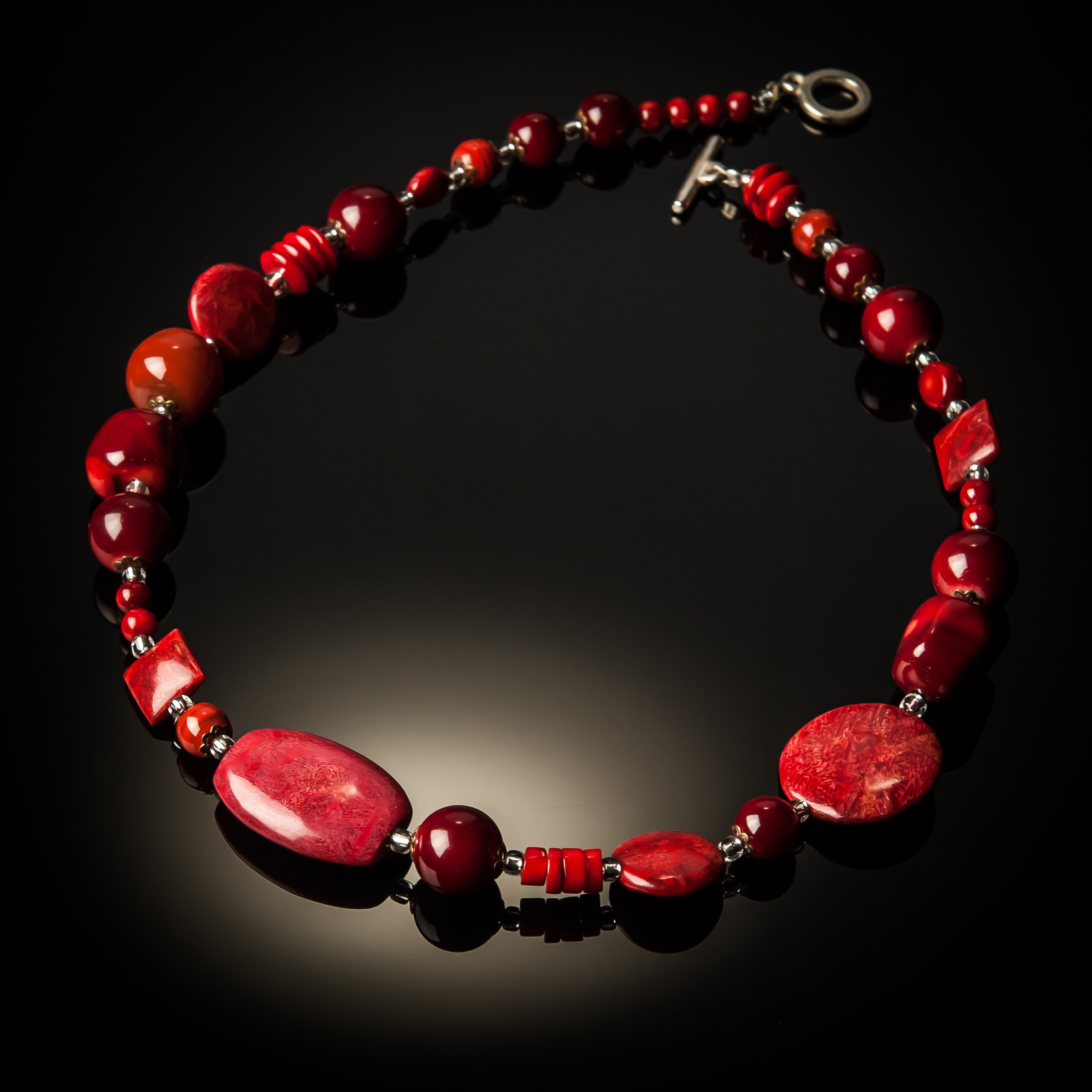 Red Coral Mixed Bead Necklace 815