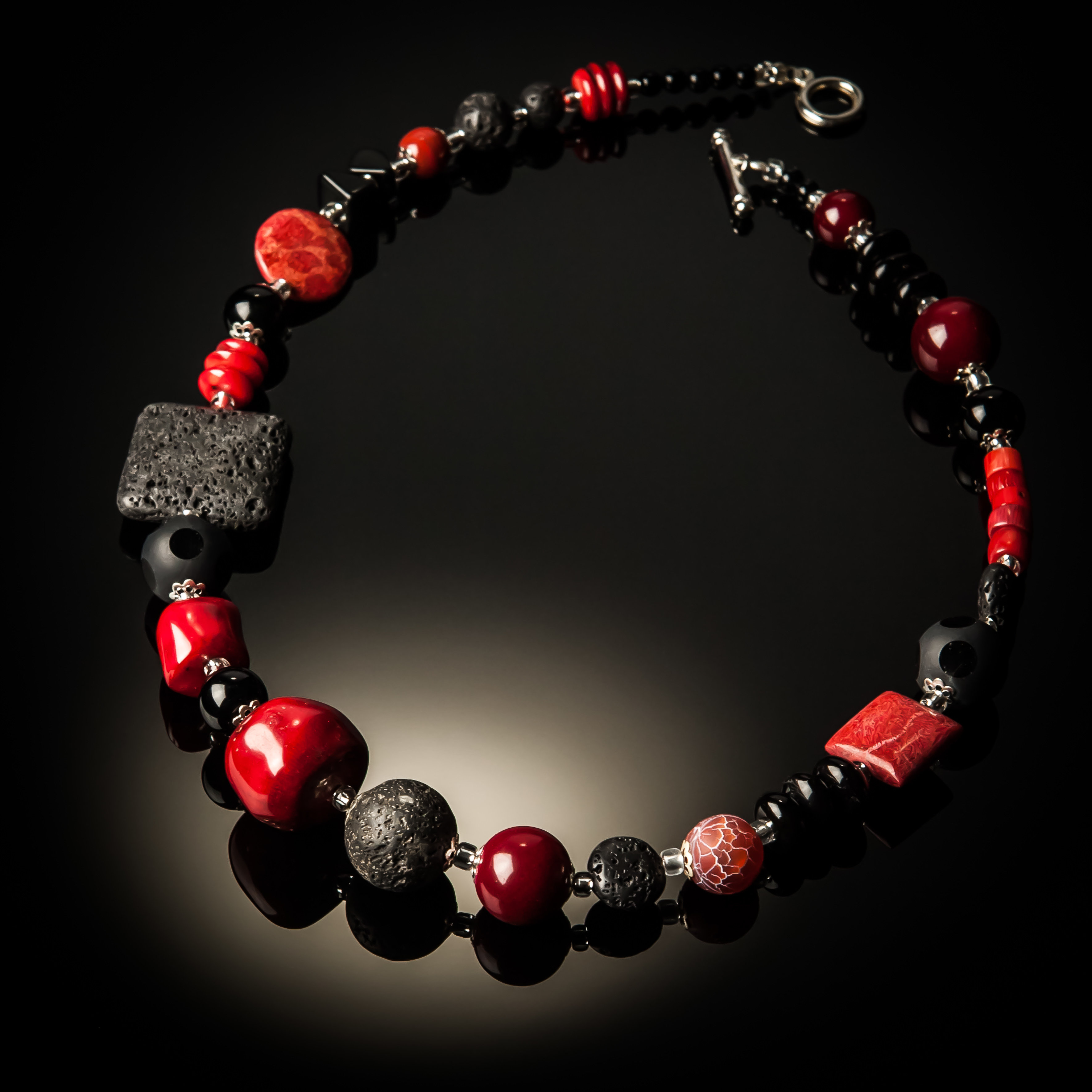 Red Coral Black Lava Necklace 814