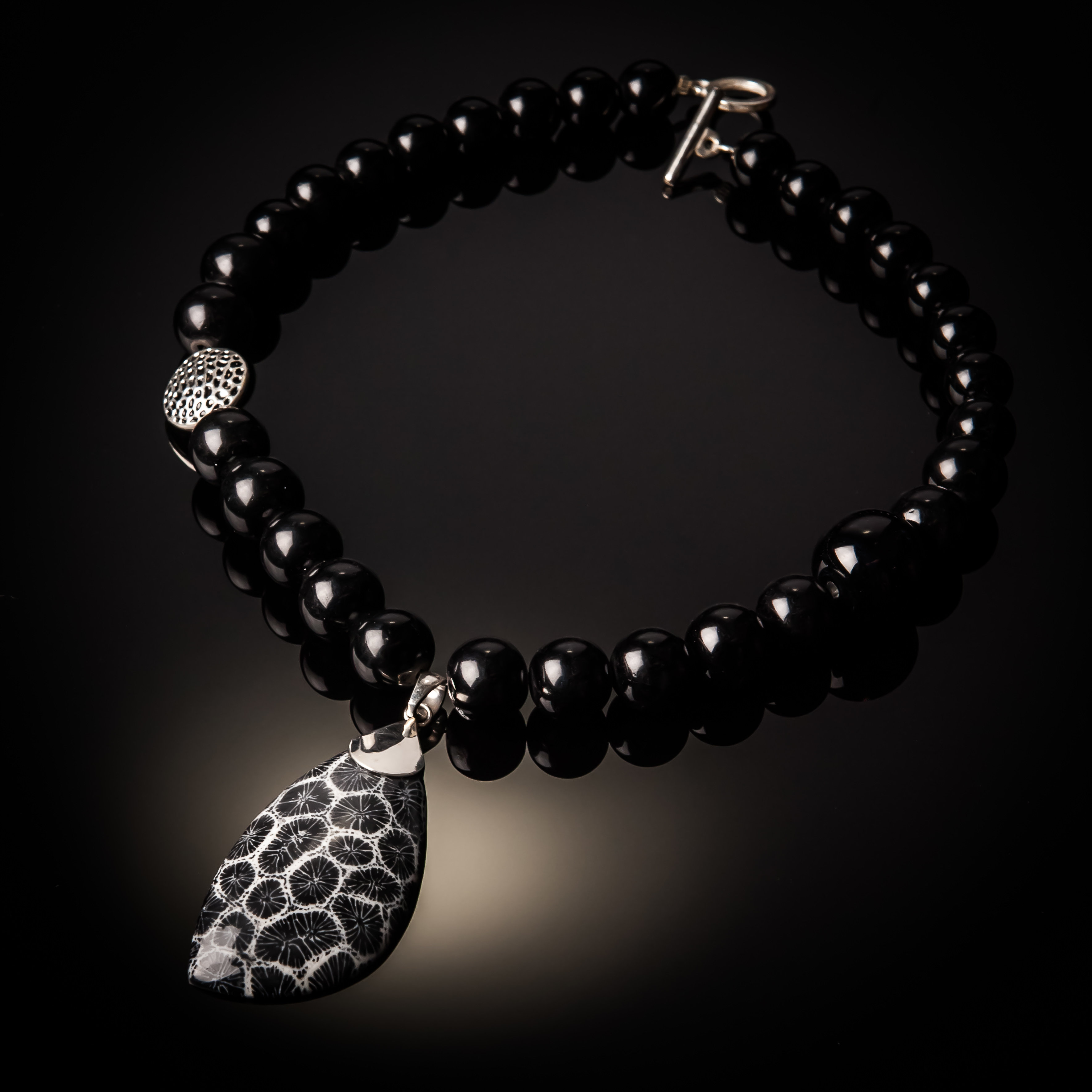 Black Coral Pendant With Black Agate Beads. NK-801