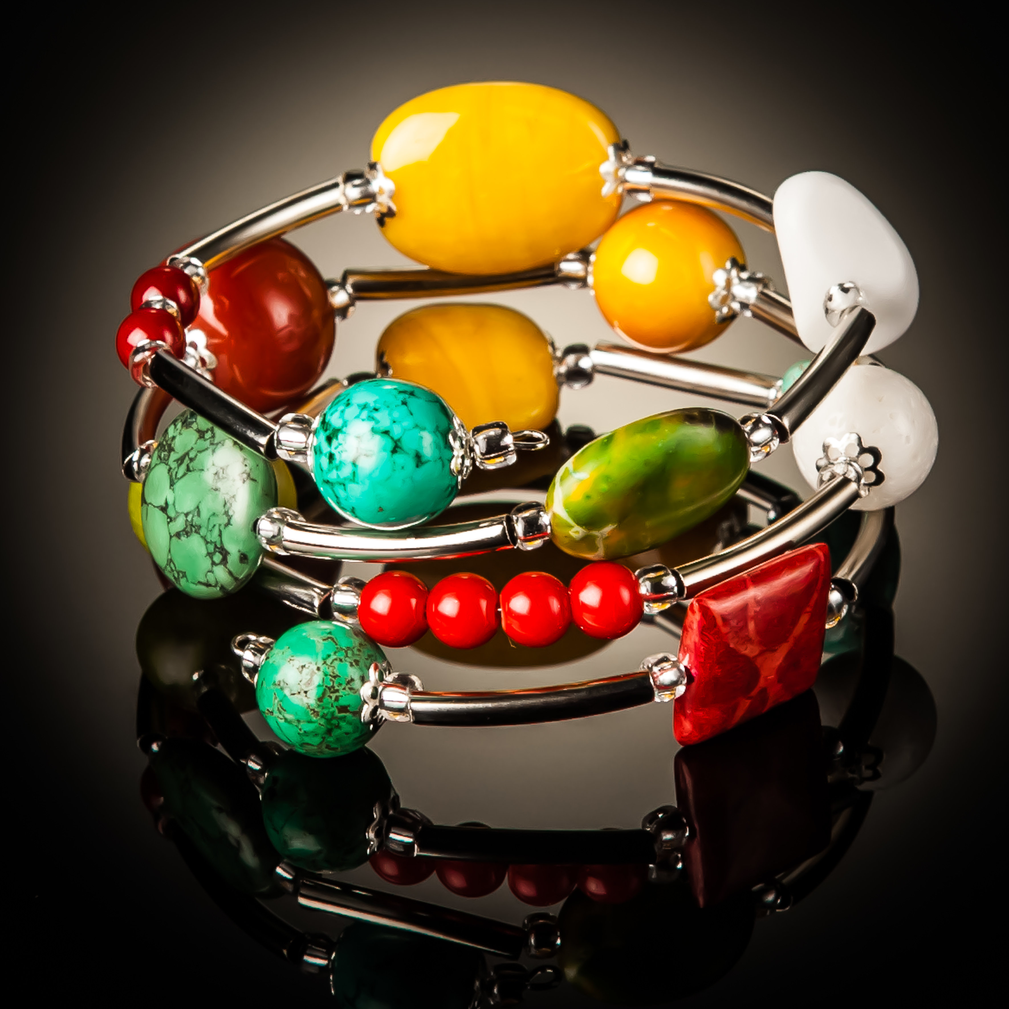 Turquoise Red Coral and Yellow Twist Bracelet 788