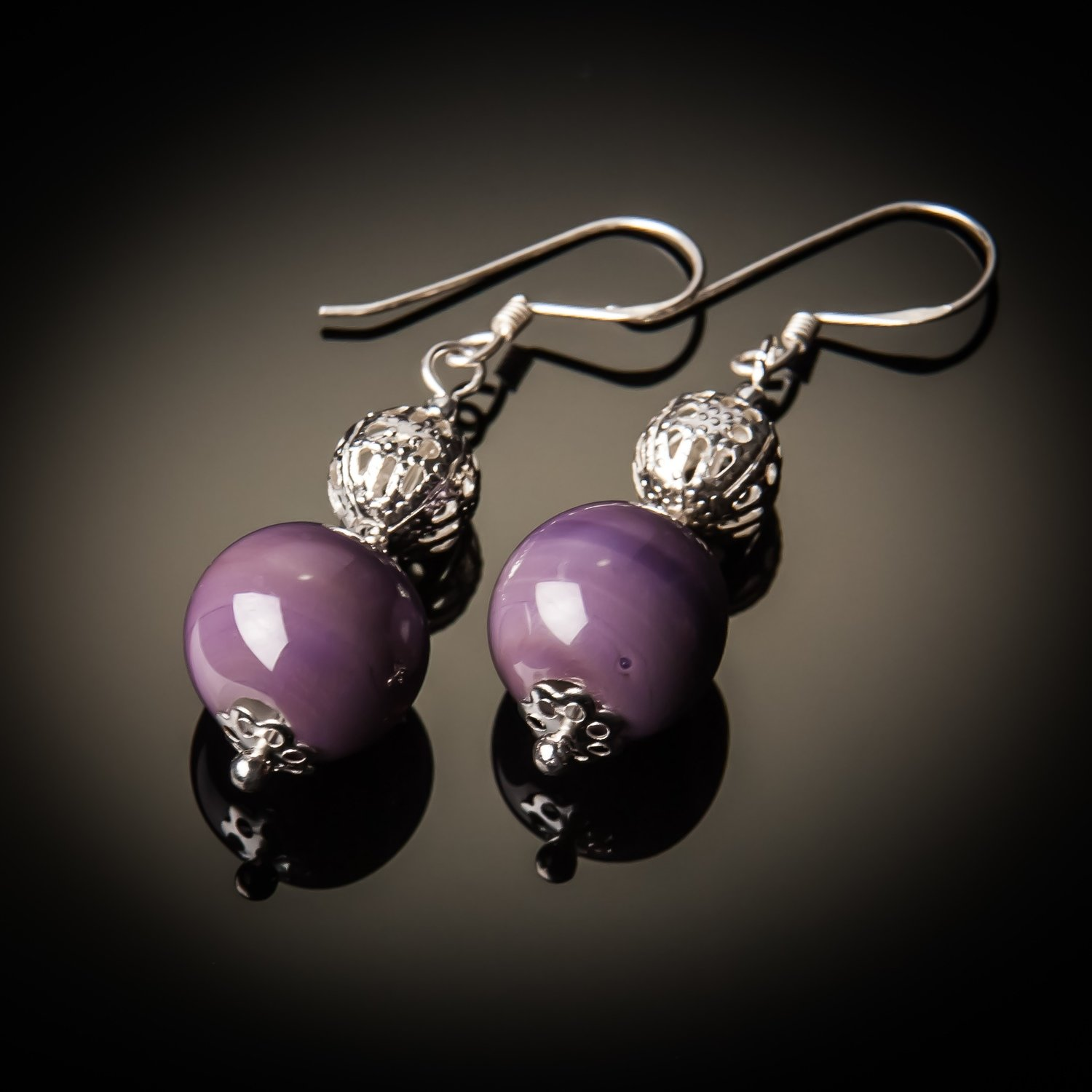 Purple Glass Bead Sterling Silver Earrings