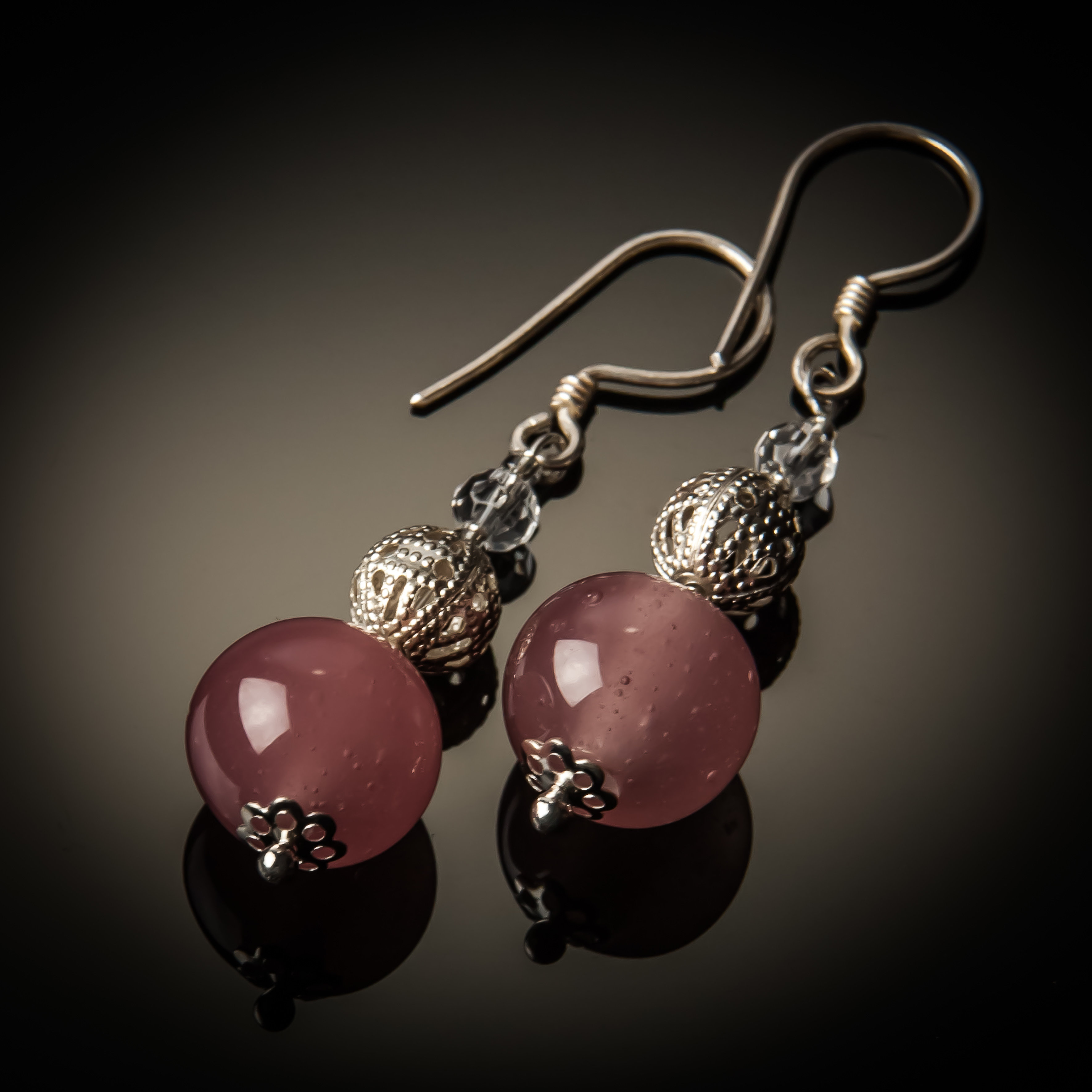 Pink Glass Bead Sterling Silver Earrings 782-ER-Pink