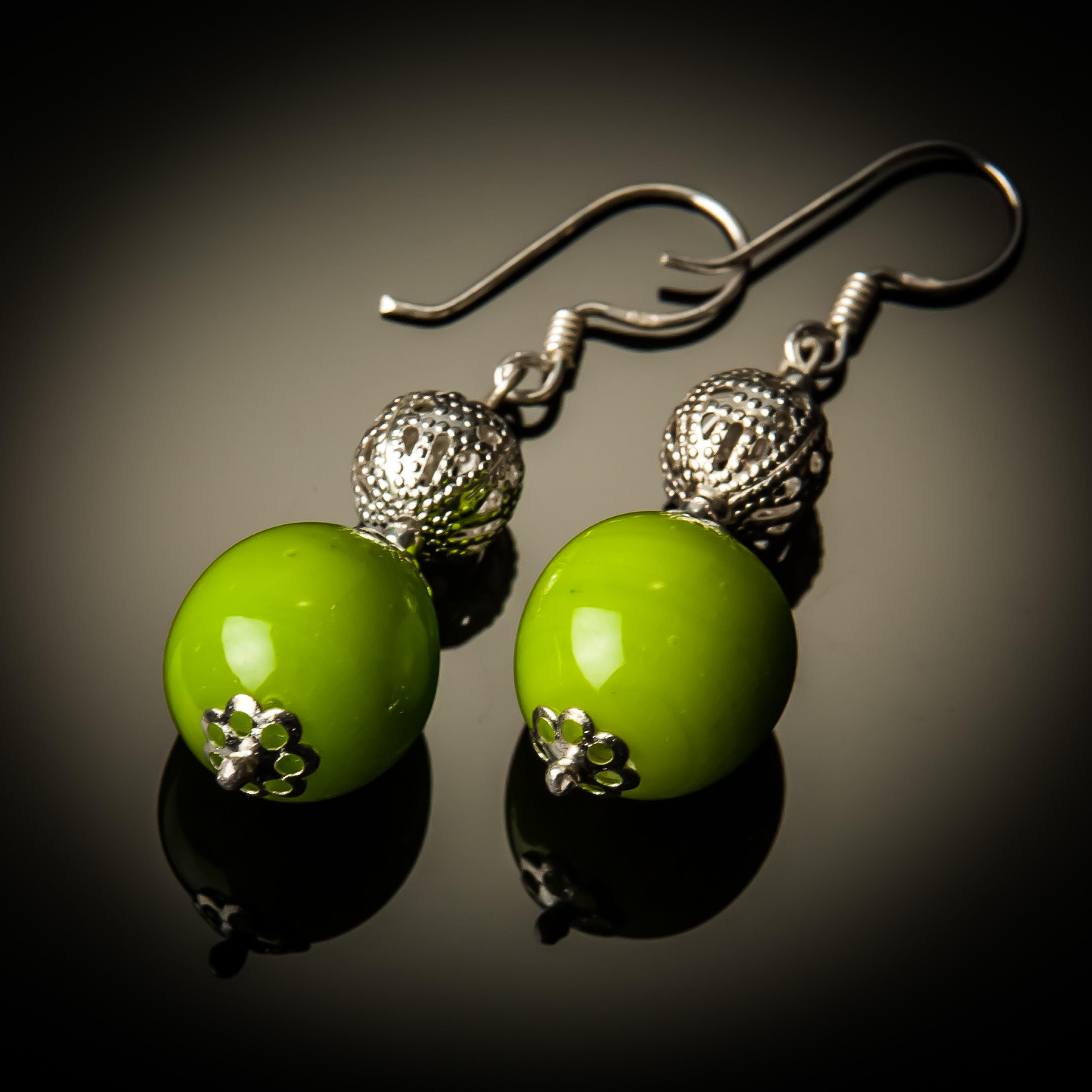 Green Glass Bead Sterling Silver Earrings 782-ER-Lime green