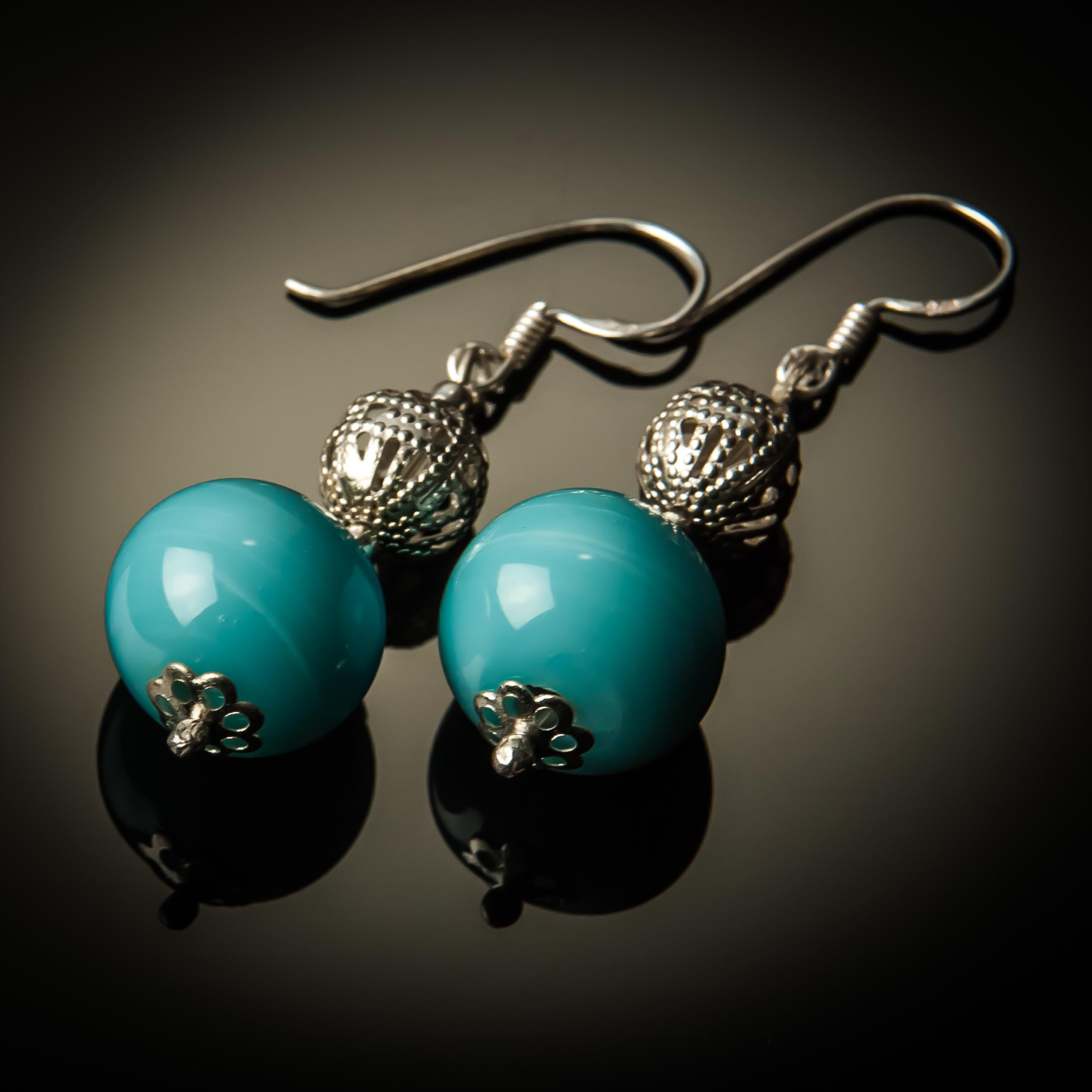 Blue Glass Bead Sterling Silver Earrings 782-ER Blue