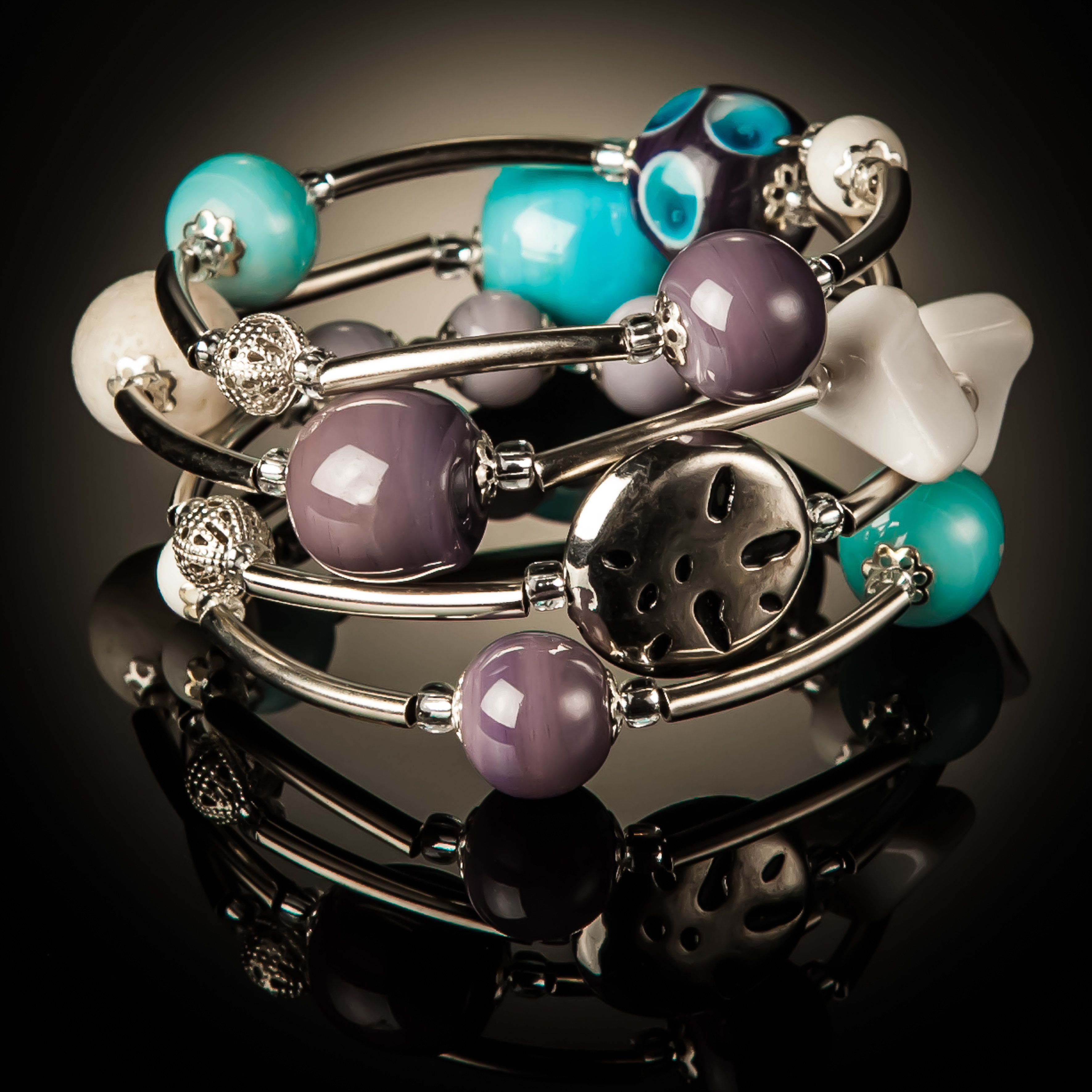 Baby Blue Purple Designer Beads Twist Bracelet 776