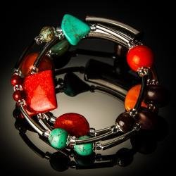 Turquoise Red Coral Twist Bracelet 766