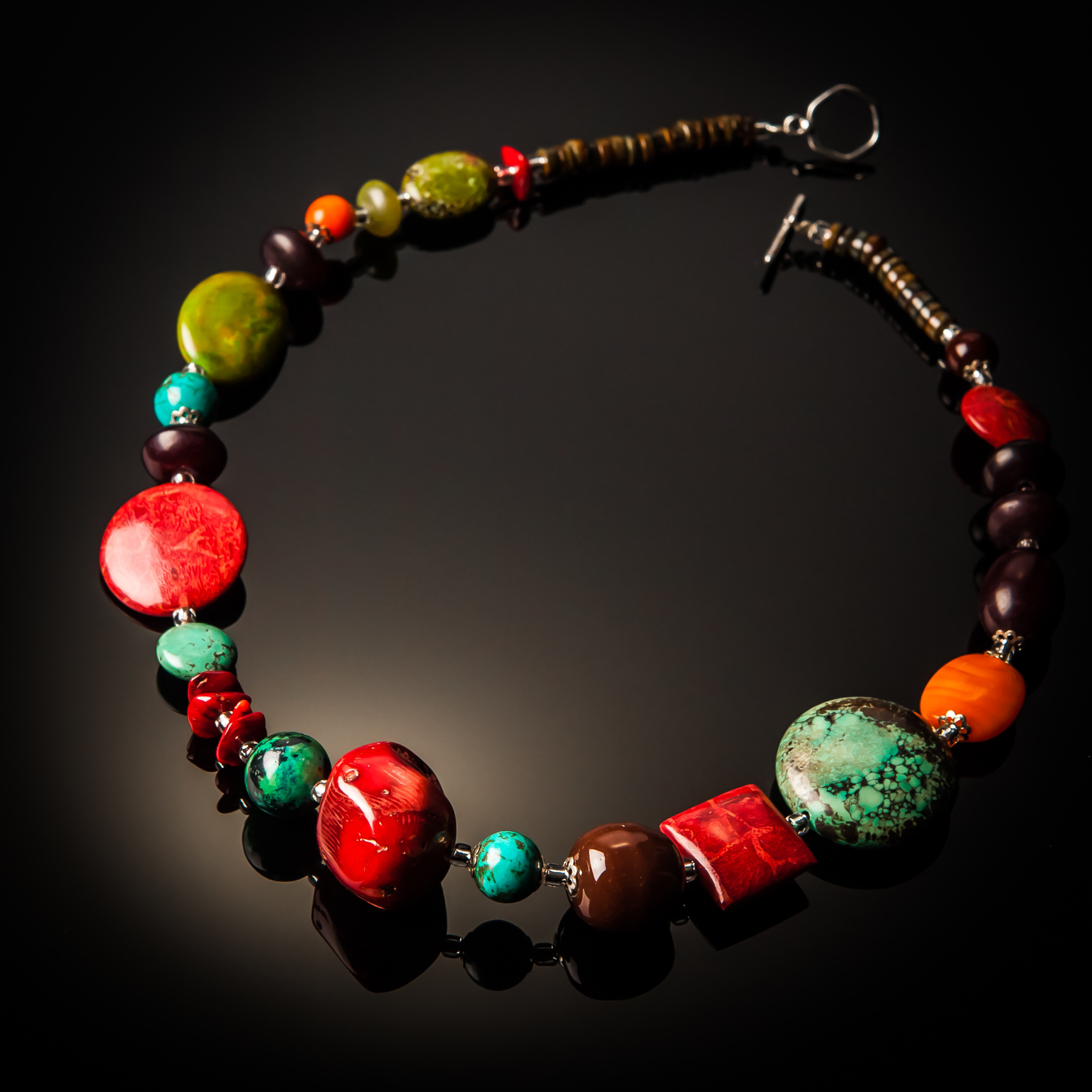 Red Coral Turquoise Necklace 764